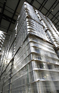 Cans are stacked high at the new 570,000 square foot Utah Bishops' Central Storehouse in Salt Lake City, Thursday, Jan. 26, 2012.