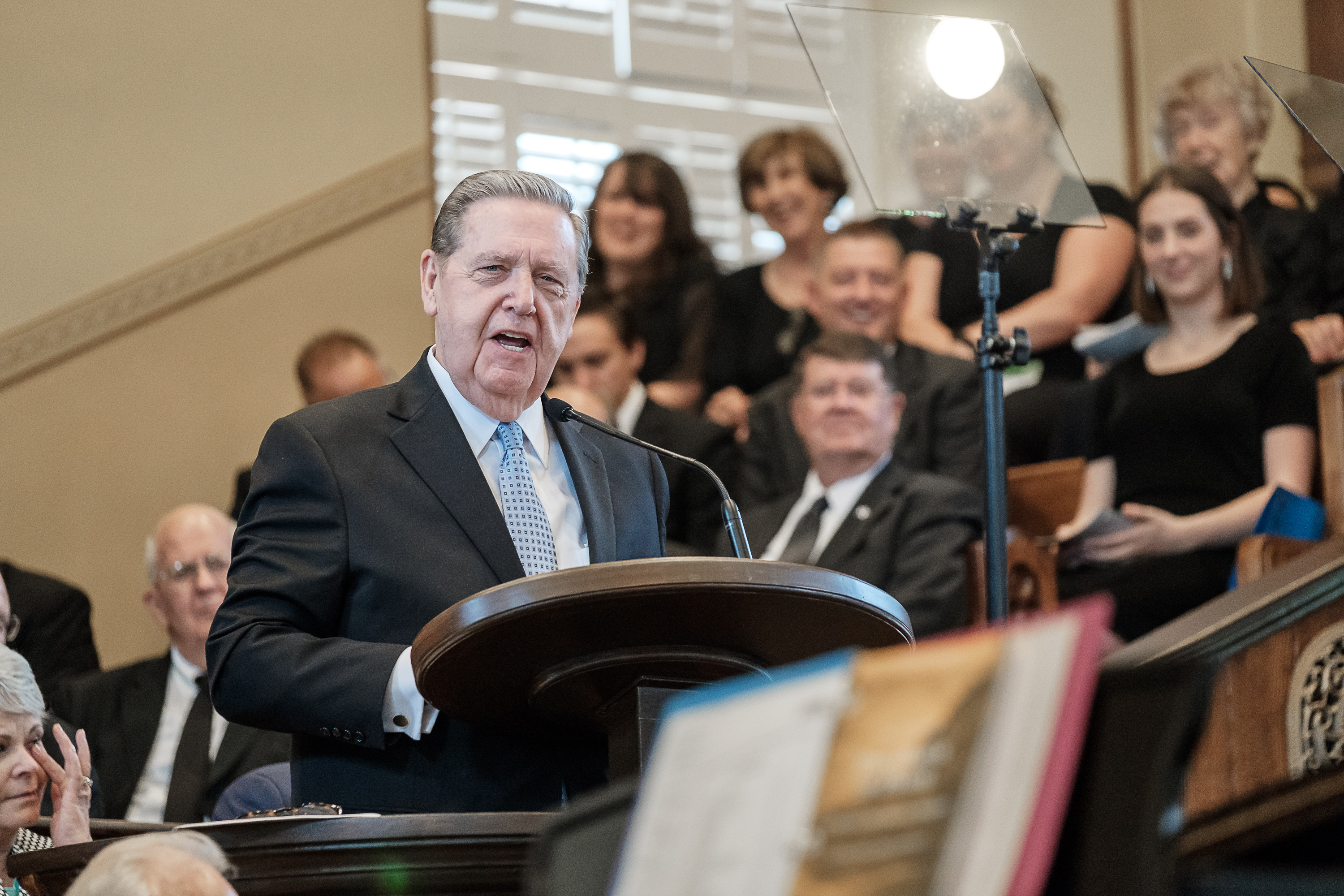 Elder Jeffrey R. Holland of the Quorum of the Twelve Apostles of The Church of Jesus Christ of Latter-day Saints speaks Saturday, July 28, 2018, in the St. George Tabernacle in St. George, Utah. The 147 year old building was rededicated after a two-year renovation.