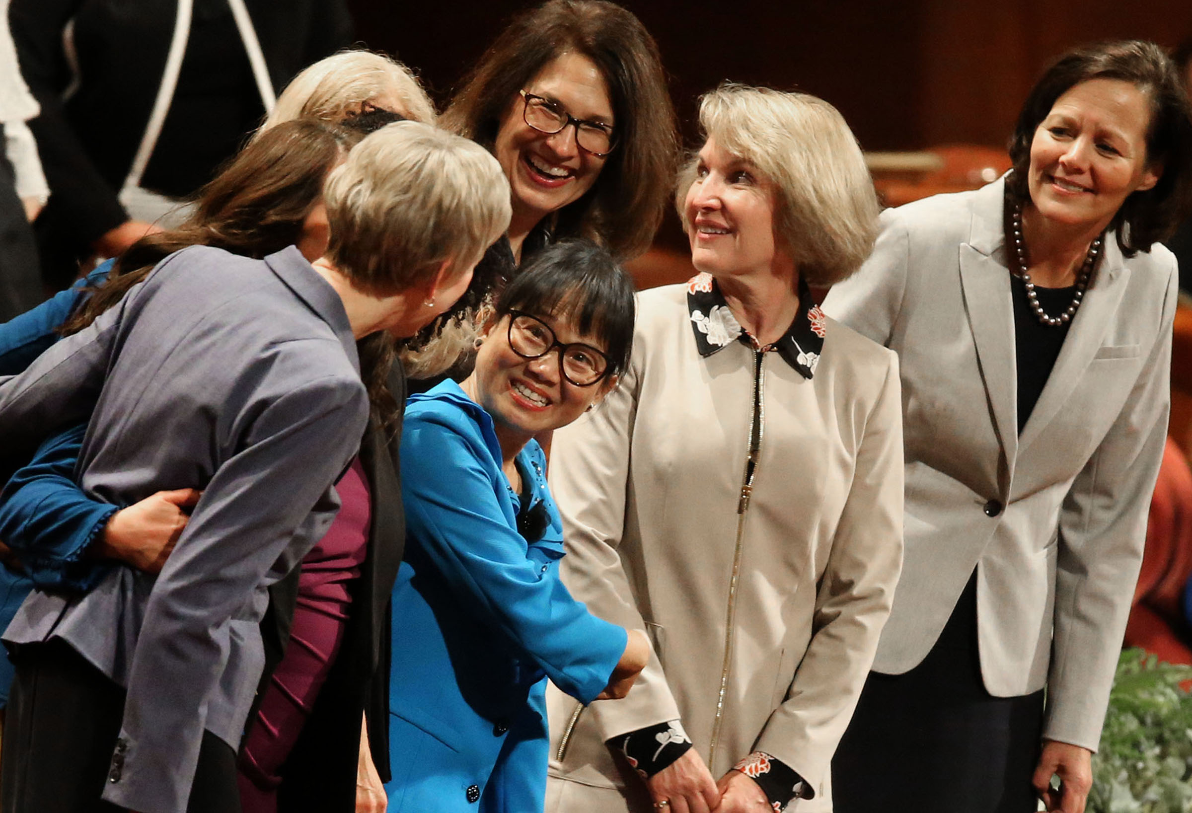 General board members of the Relief Society chat before the general women's session of the 188th Semiannual General Conference of The Church of Jesus Christ of Latter-day Saints held in the Conference Center in downtown Salt Lake City on Saturday, Oct. 6, 2018.