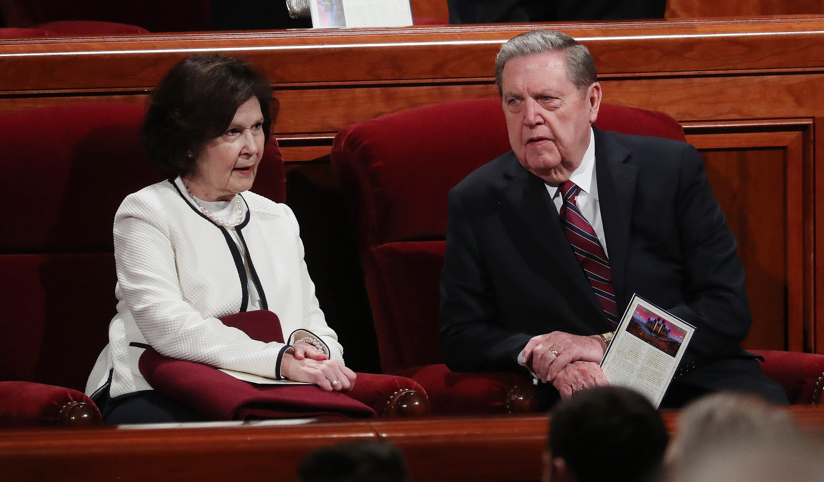 Elder Jeffery R. Holland of the Quorum of the Twelve Apostles sits with his wife, Sister Patricia Holland, prior to the Sunday morning session of the 189th Annual General Conference of The Church of Jesus Christ of Latter-day Saints in the Conference Center in Salt Lake City on Sunday, April 7, 2019.