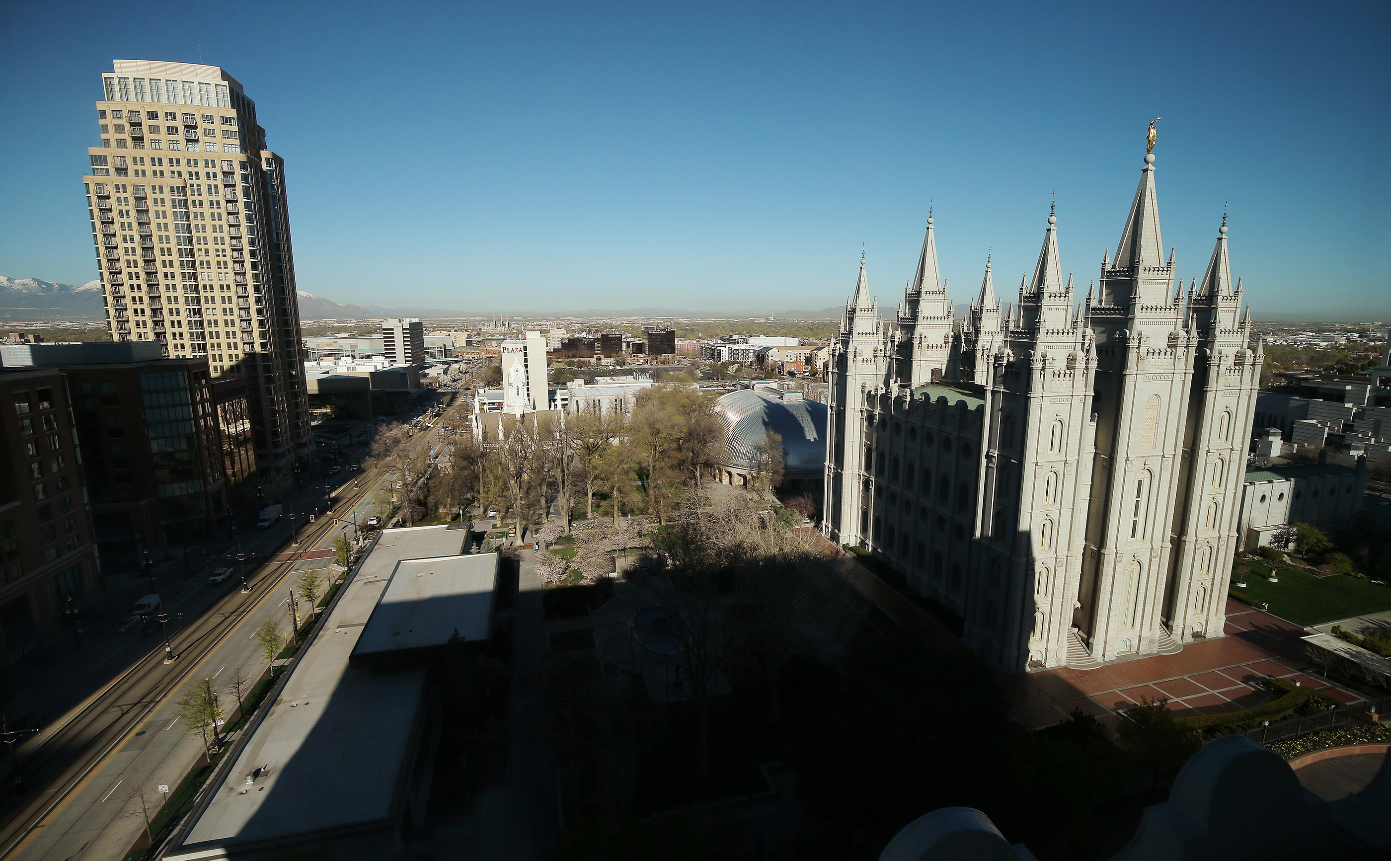 The Salt Lake Temple in Salt Lake City on Friday, April 19, 2019. Leadership of The Church of Jesus Christ of Latter-day Saints on Friday announced renovation plans for the Salt Lake Temple and changes to the temple grounds and Temple Square.
