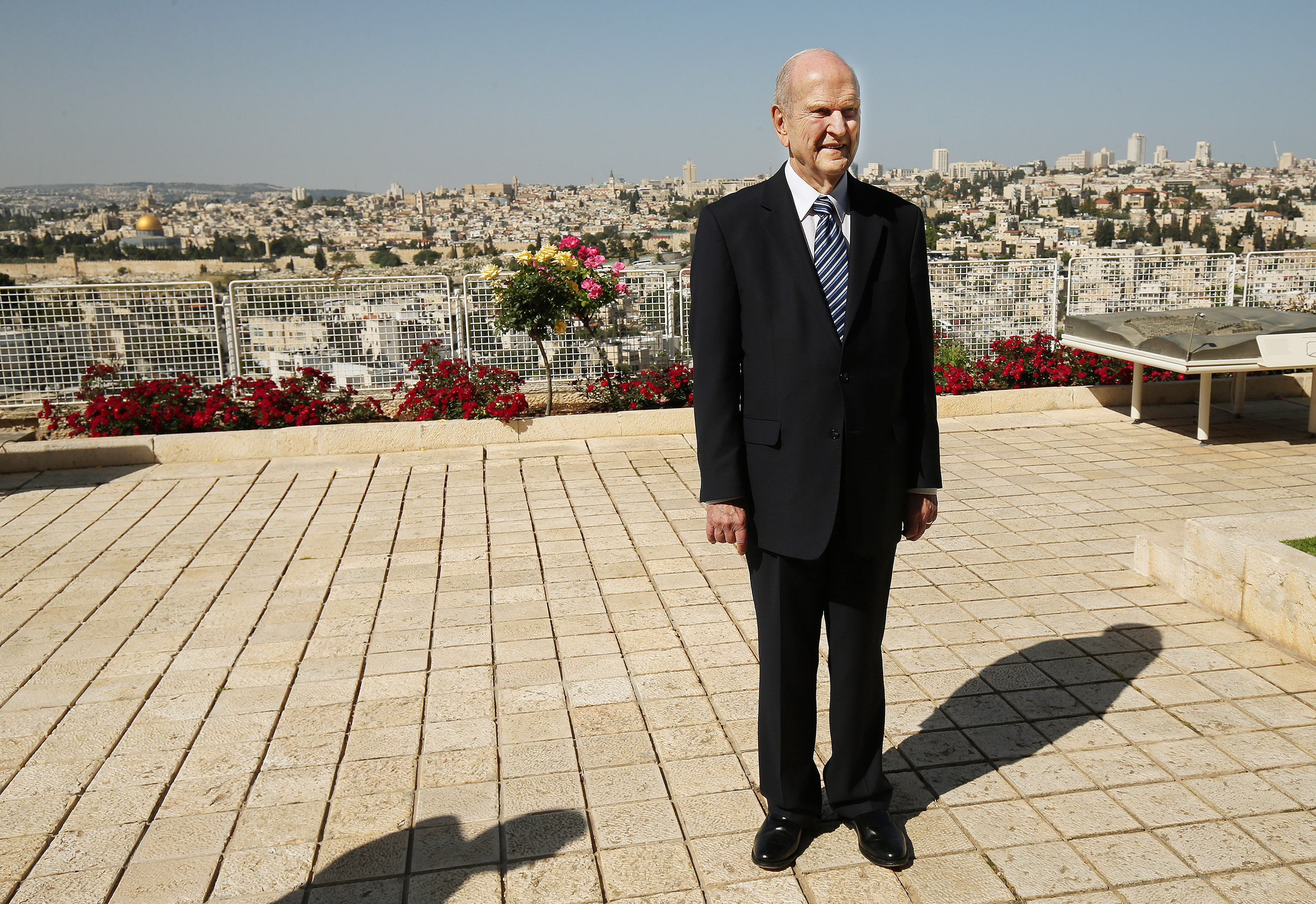 President Russell M. Nelson looks over the grounds at the BYU Jerusalem Center in Jerusalem on Saturday, April 14, 2018.