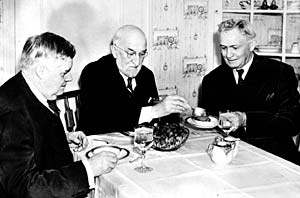 President Heber J. Grant serves food to his counselors, President J. Reuben Clark Jr., and President David O. McKay, in an undated photo, probably taken in the mid-1930s. President Clark's length of service was second only to that of President Brigham Young.
