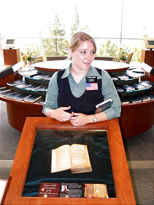 Missionary Alissa Hanks from Las Vegas, Nev., speaks about first-edition copy of the Book of Mormon that is on display in visitors center adjacent to the Oakland California Temple.