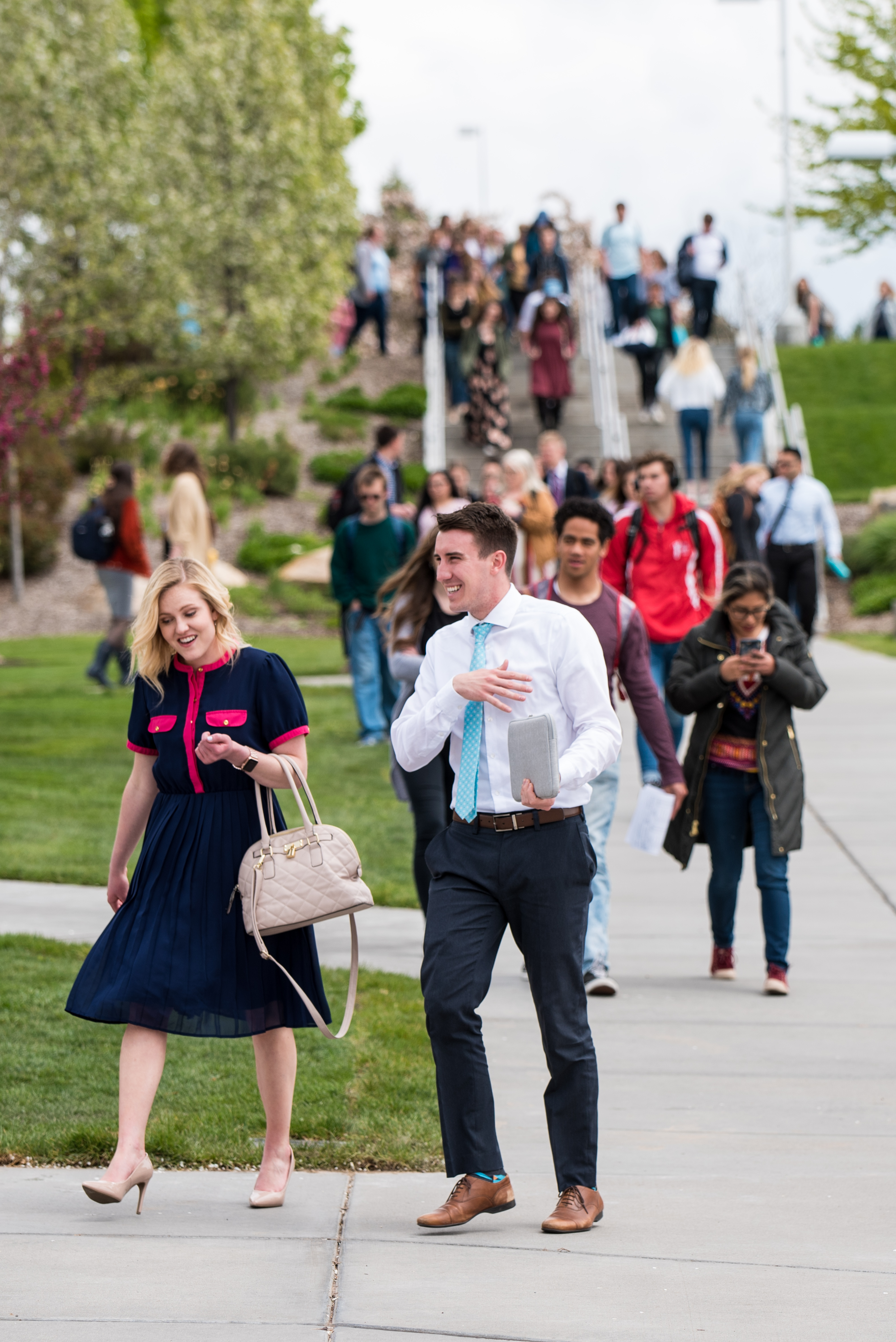 Students gather for devotional outside the BYU-Idaho Center on May 21, 2019.