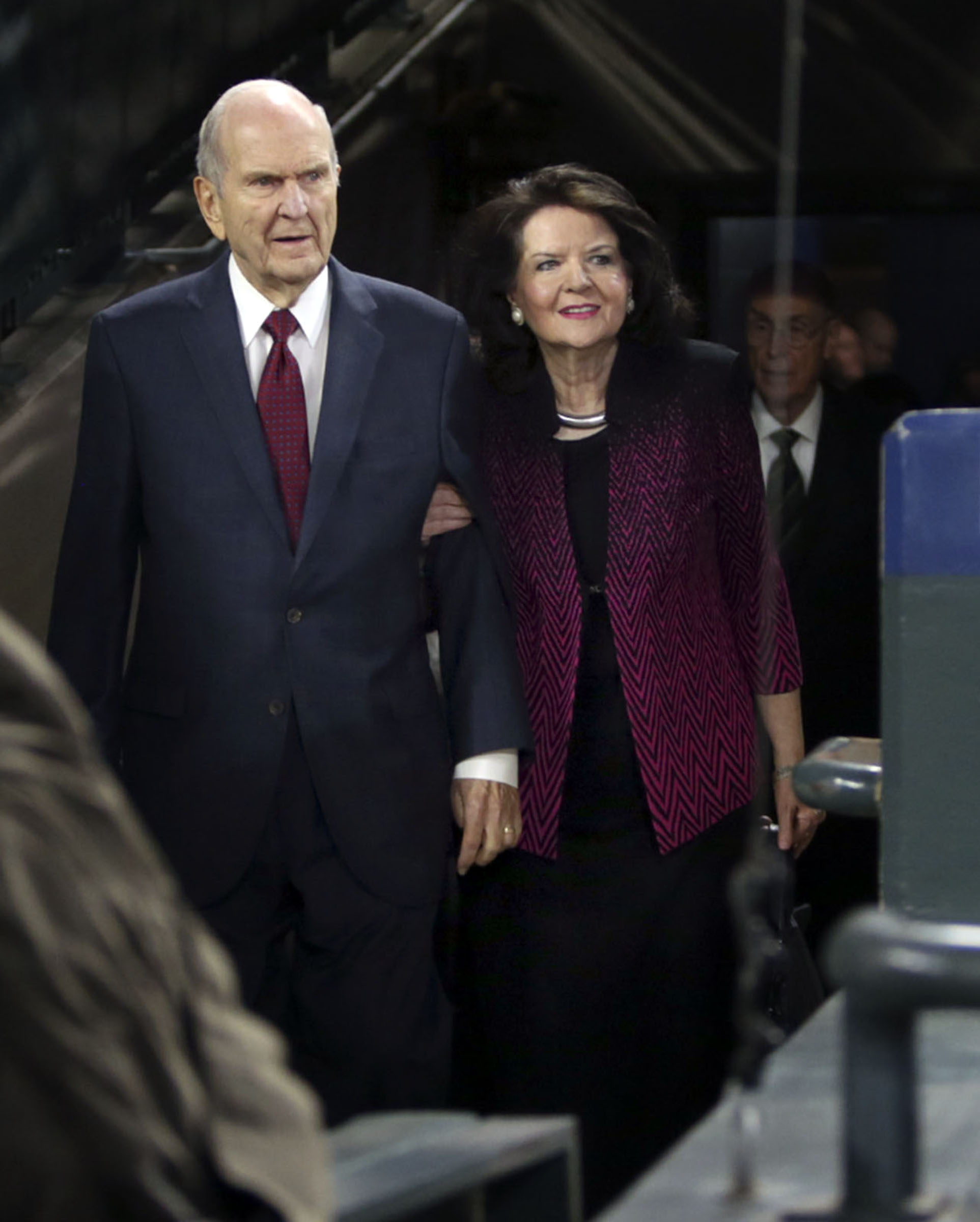 President Russell M. Nelson of The Church of Jesus Christ of Latter-day Saints and his wife, Sister Wendy Nelson, walk onto Safeco Field to speak to a crowd of more than 49,000 people in Seattle, Wash., on Saturday, Sept. 15, 2018.