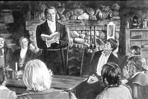 Joseph Smith, in painting by Robert T. Barrett, conducts the meeting where the Church was organized with six original members. The gathering was held in the log farm home of Peter Whitmer Sr. in Fayette, N.Y.