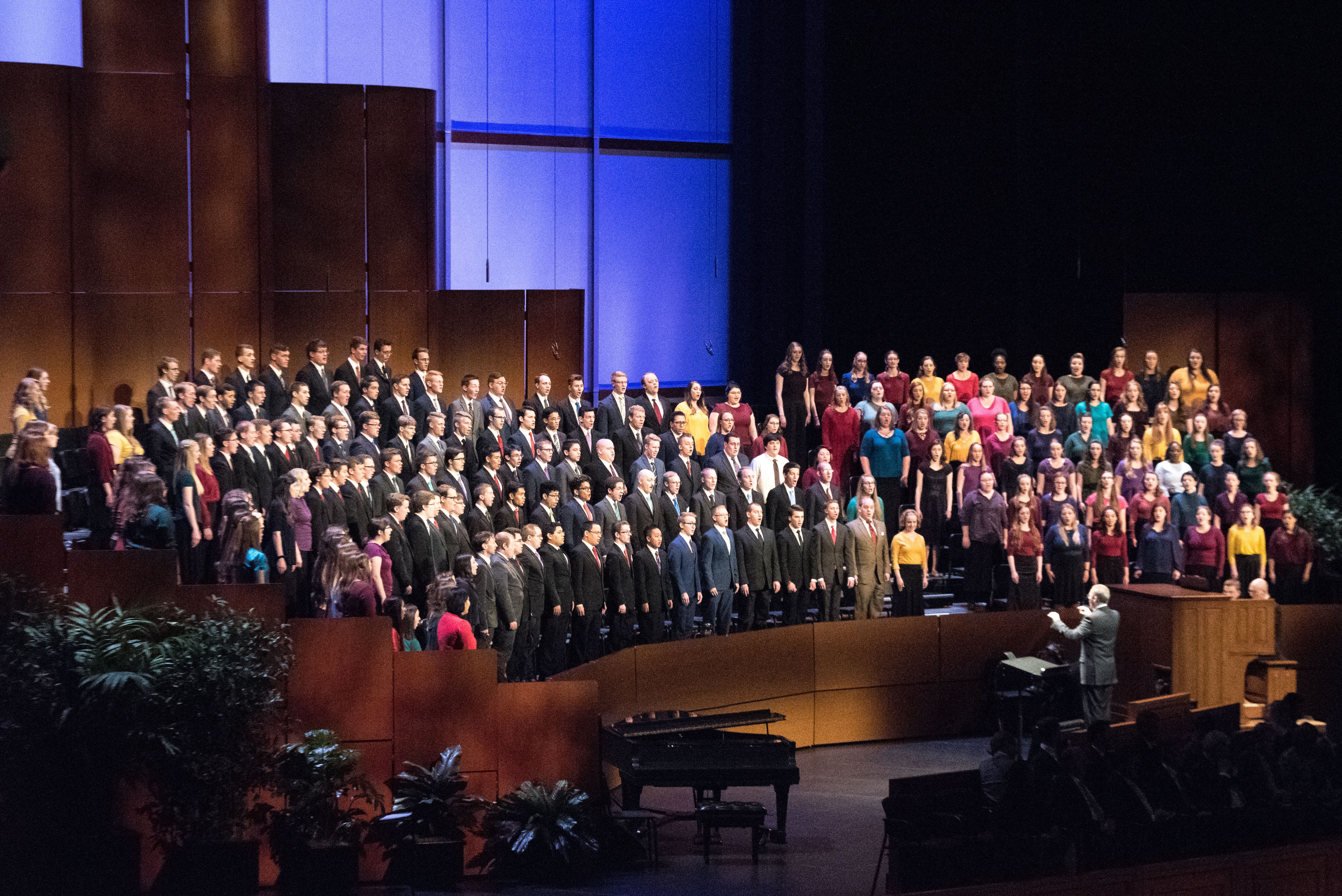 The BYU-Idaho combined choirs perform during a devotional held in the BYU-Idaho Center on April 28, 2019.