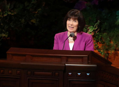 Sister Linda S. Reeves, second counselor in the Relief Society general presidency, speaks at the General Relief Society Meeting in the Conference Center in Salt Lake City on Saturday, Sept. 28.
