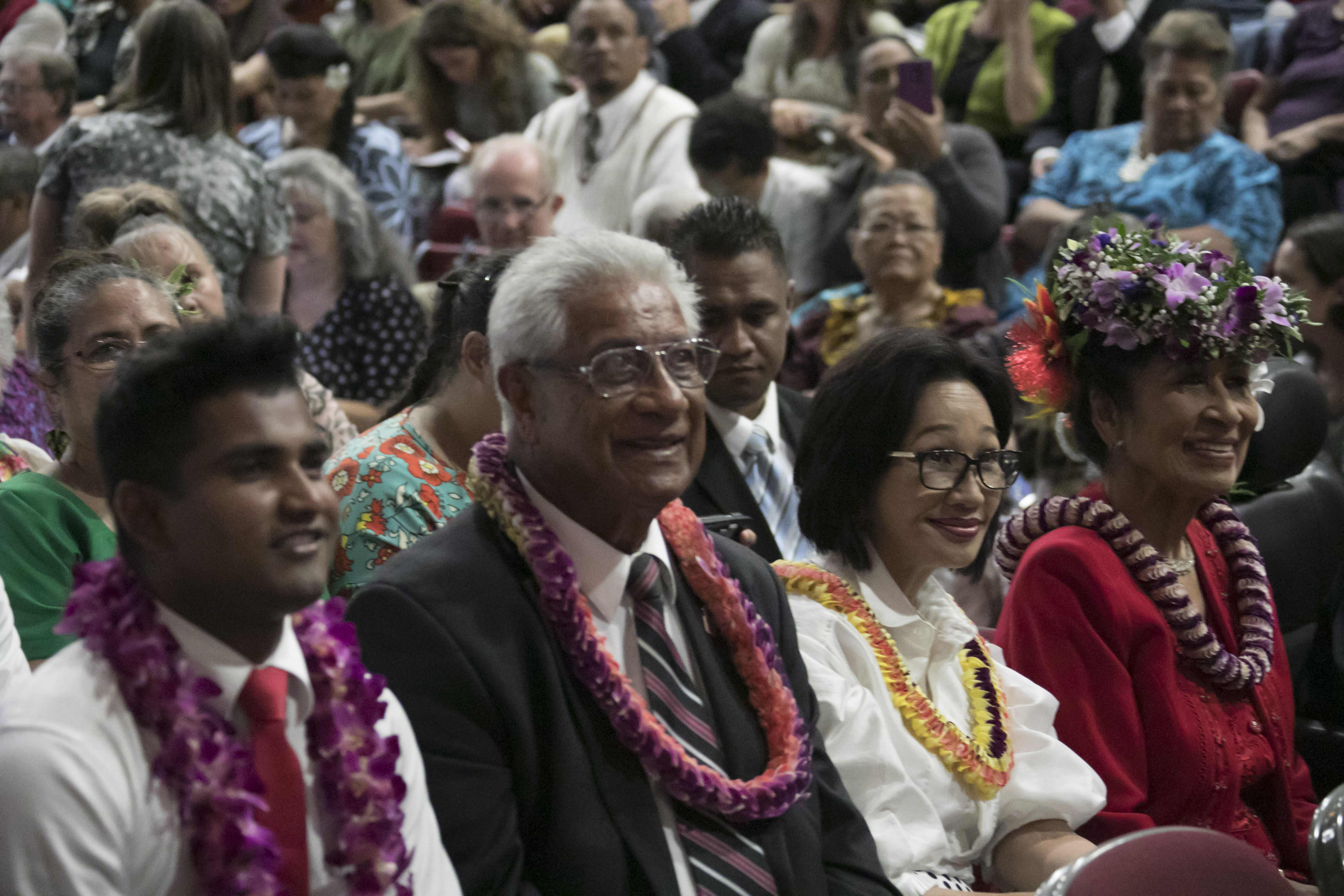 Church members listen during a special devotional in Laie, Hawaii, on April 22.