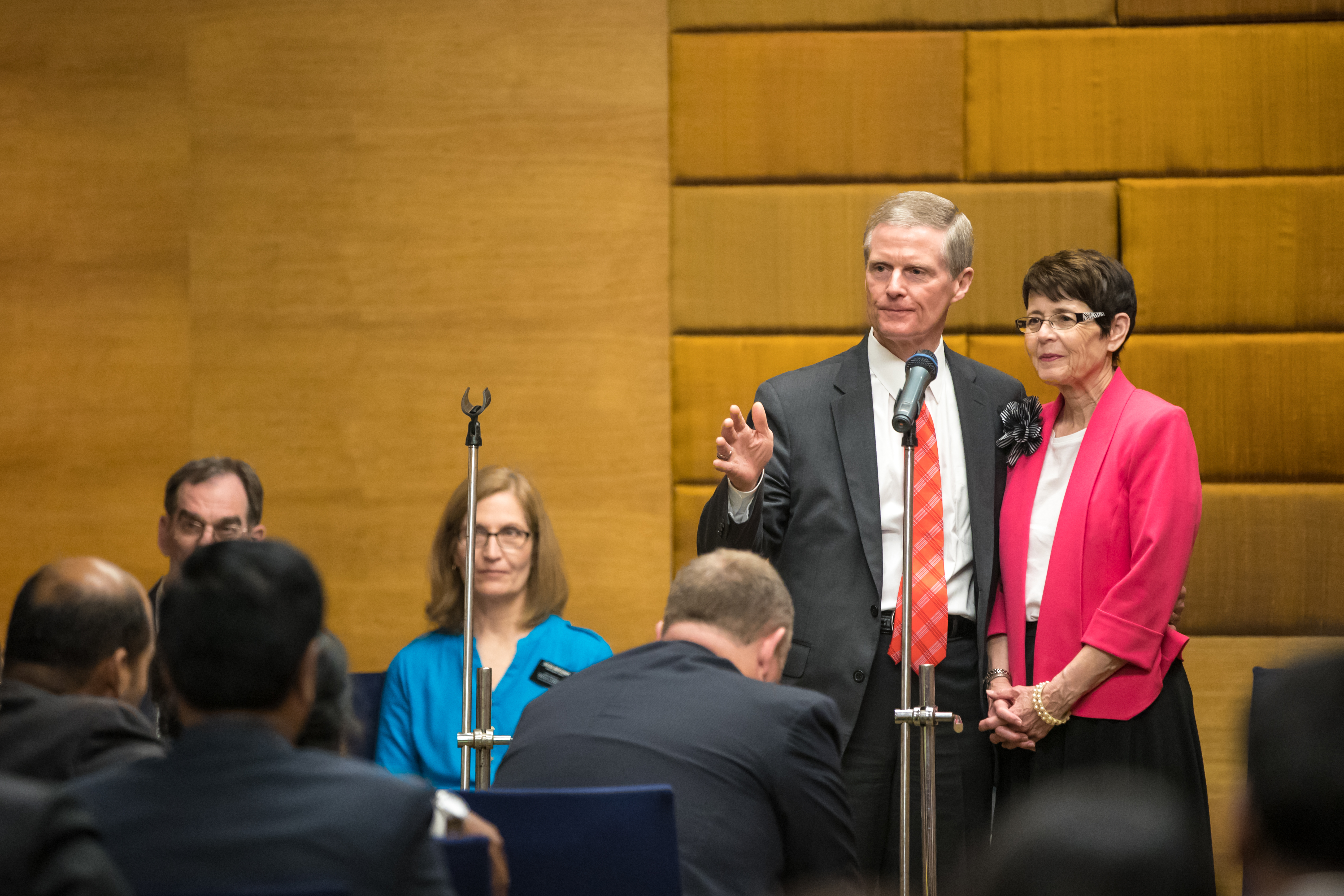 Elder David A. Bednar and his wife, Sister Susan R. Bednar, answer questions during a member meeting in Hyderabad, India.