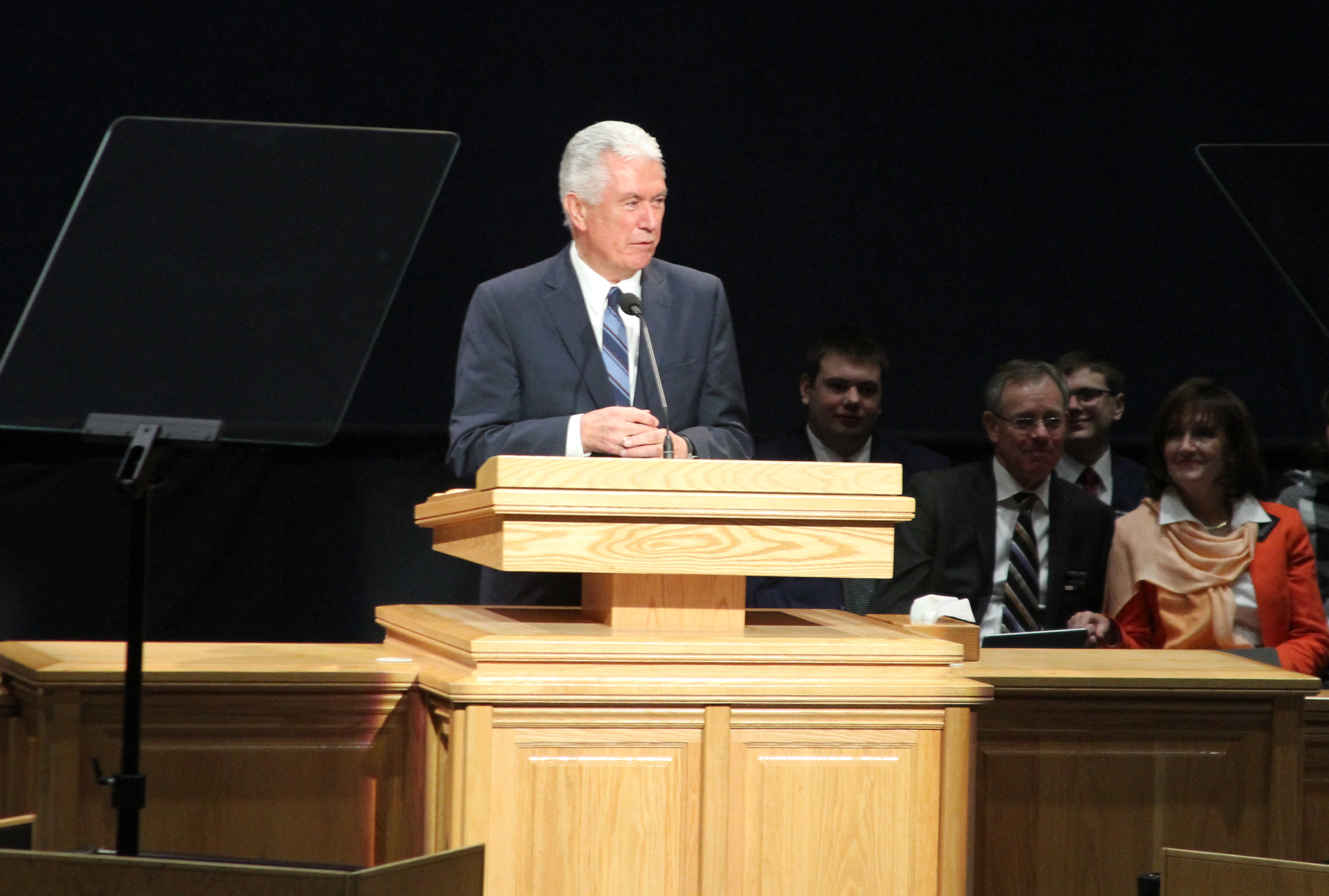 Elder Dieter F. Uchtdorf of the Quorum of the Twelve Apostles speaks to missionaries during a Thanksgiving morning devotional in the Provo MTC on Nov. 22, 2018.