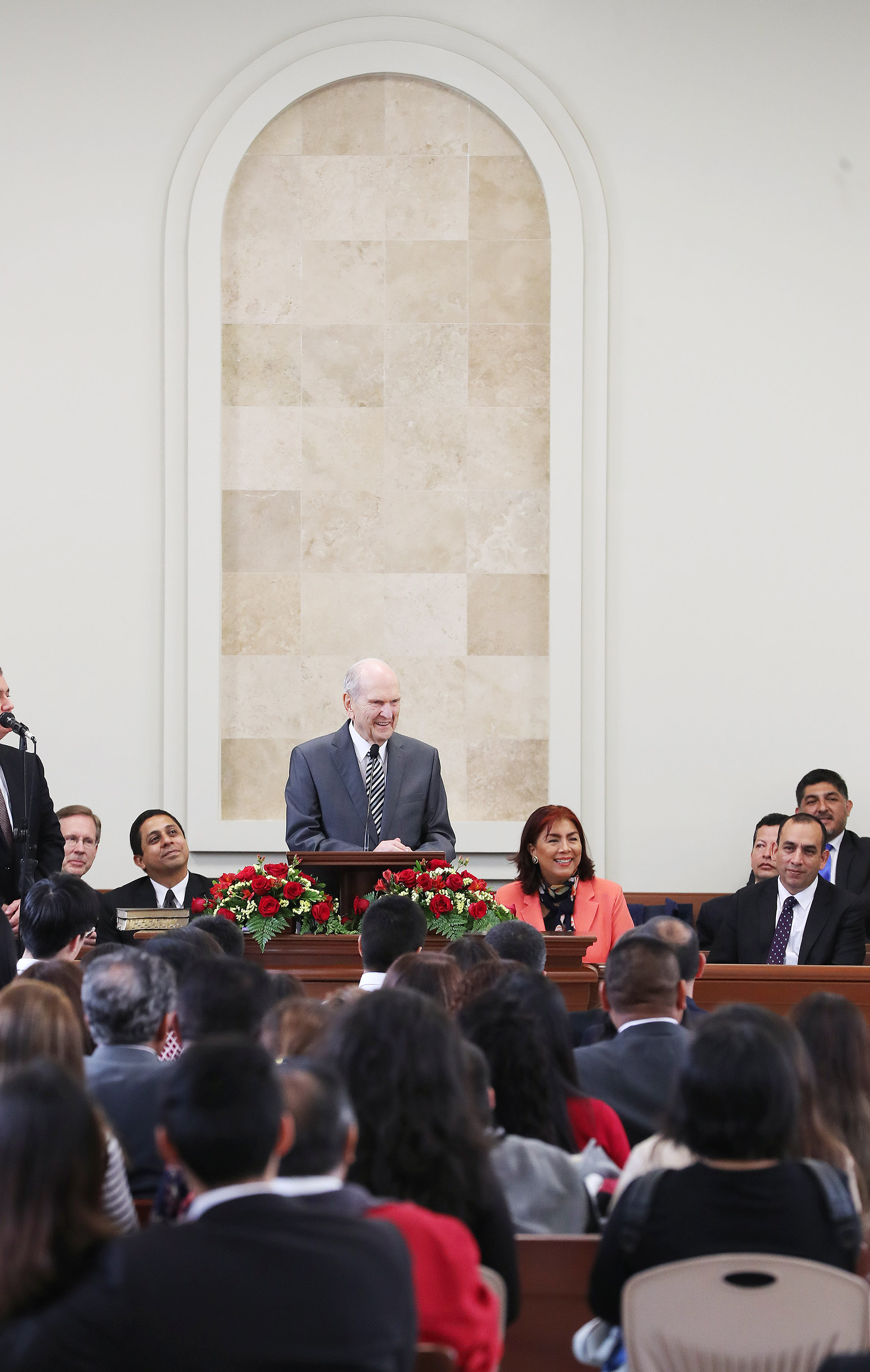 President Russell M. Nelson of The Church of Jesus Christ of Latter-day Saints speaks in a ward in Lima, Peru on Oct. 21, 2018.