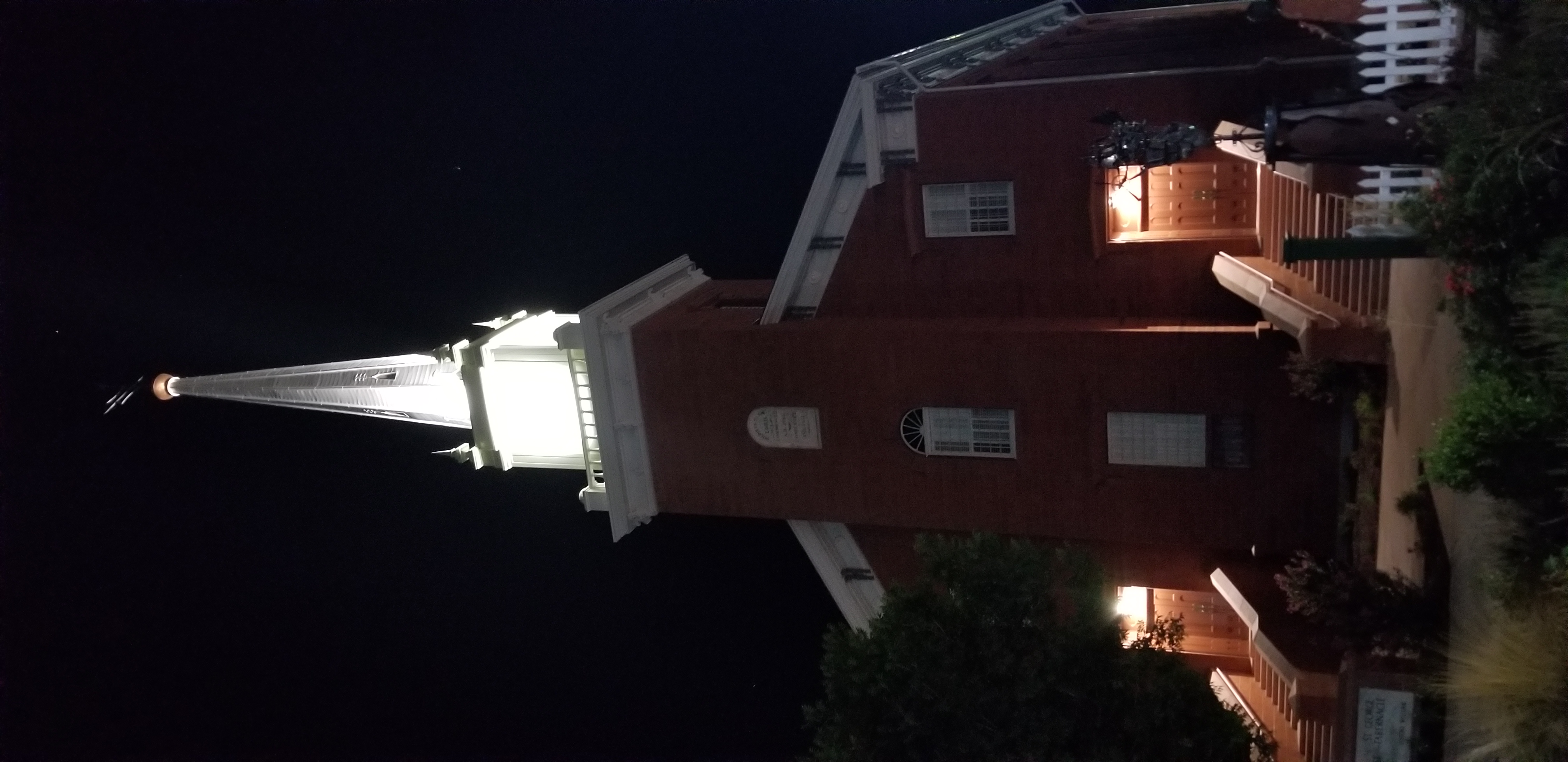 The St. George Tabernacle at night. The tabernacle will be rededicated Saturday, July 28, 2018, following a two-year renovation. Photo taken July 22, 2018.