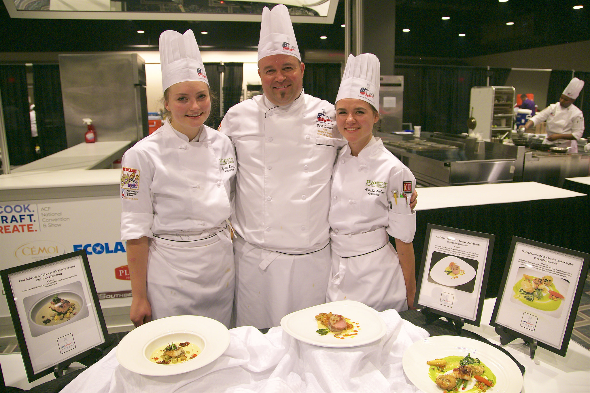 Latter-day Saint chef Todd Leonard, center, was assisted in the 2018 National Chef of the Year competition by a pair of student apprentices — Lydia Harris, left, and AnnaLis Nielsen.