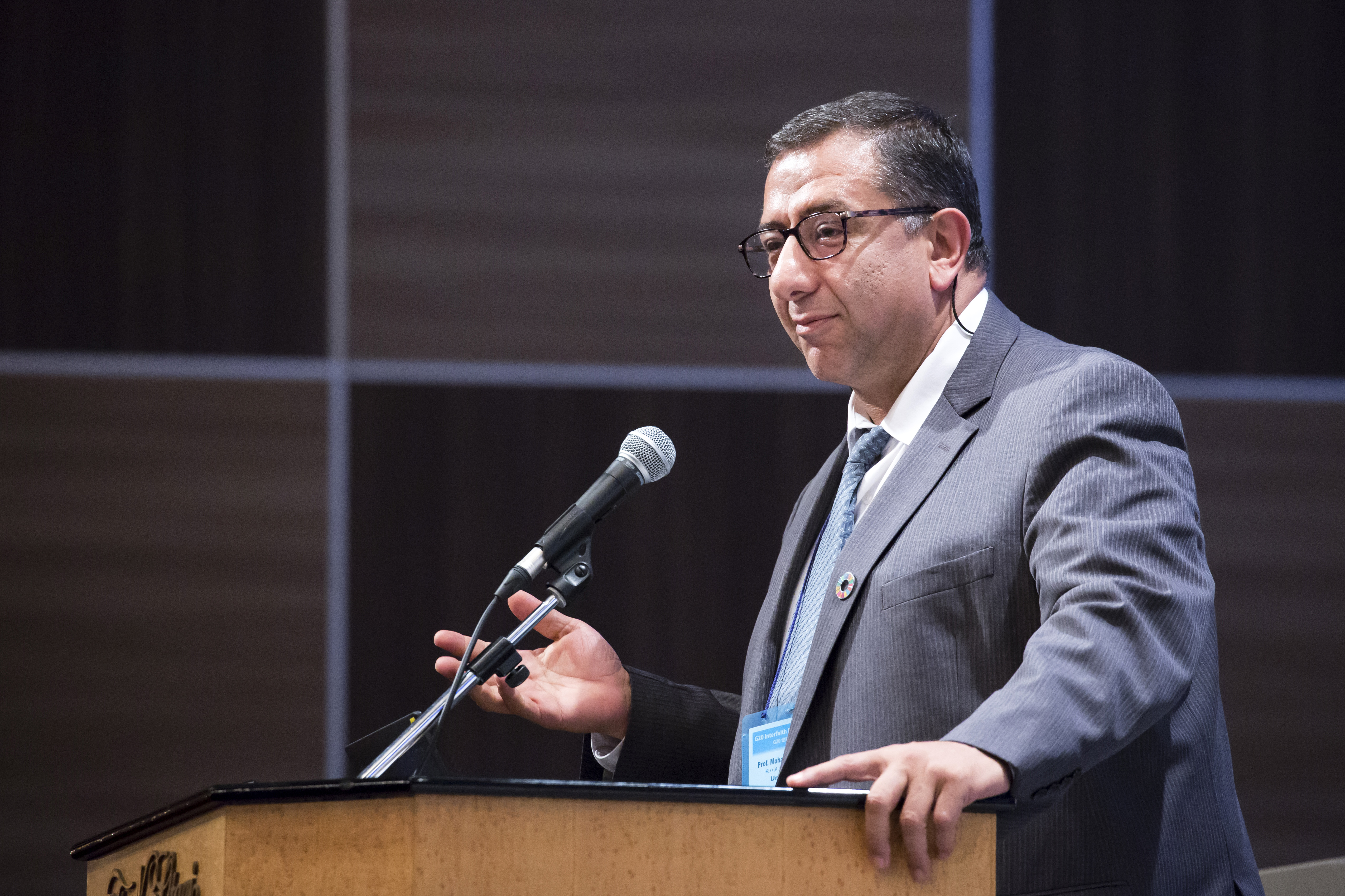 Mohammed Abu-Nimer speaks during the G20 Interfaith Forum in Chiba, Japan, on Saturday, June 8, 2019.
