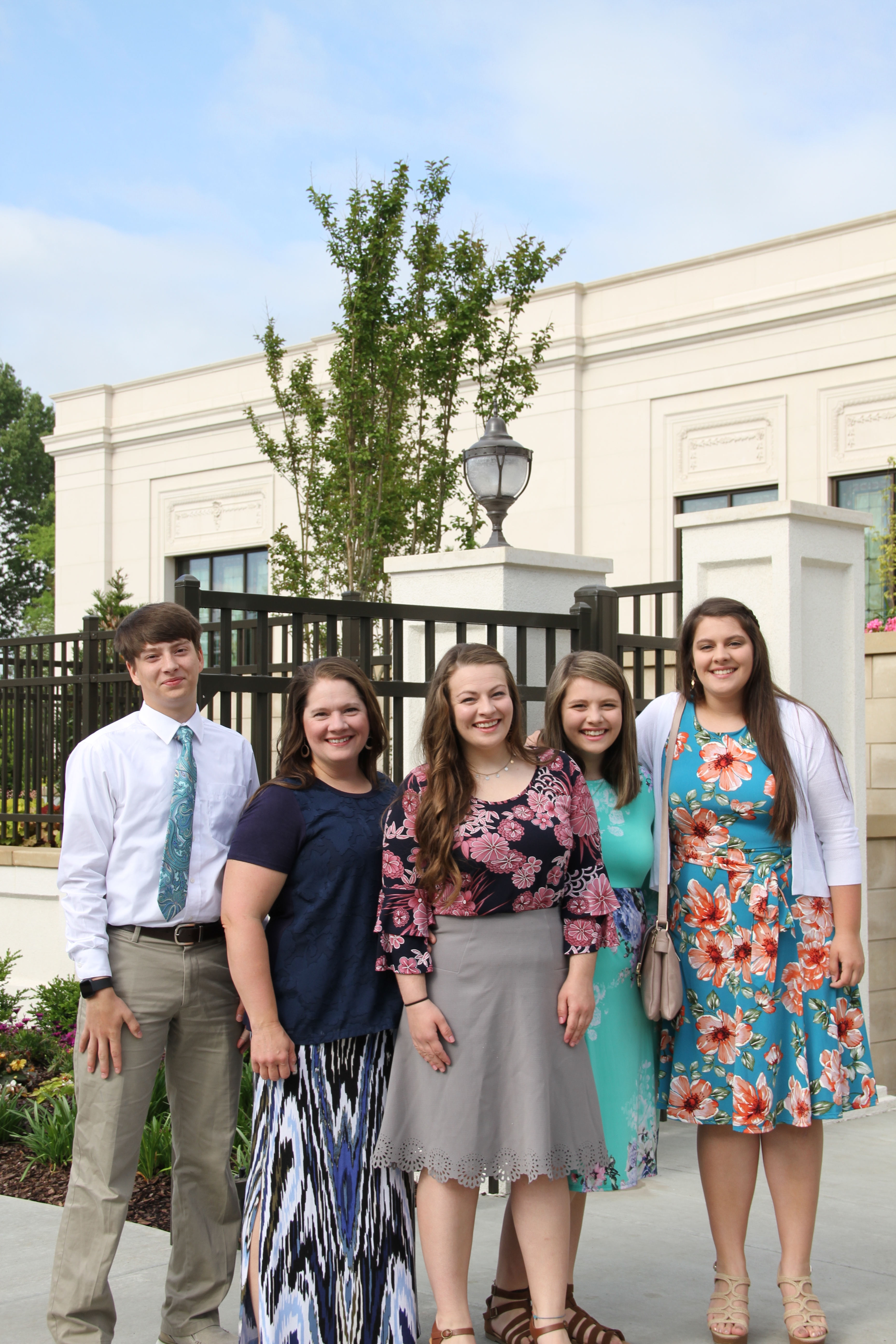 Members from the Memphis Tennessee Temple district pose as they arrive for the rededication of the Memphis temple on May 5, 2019.