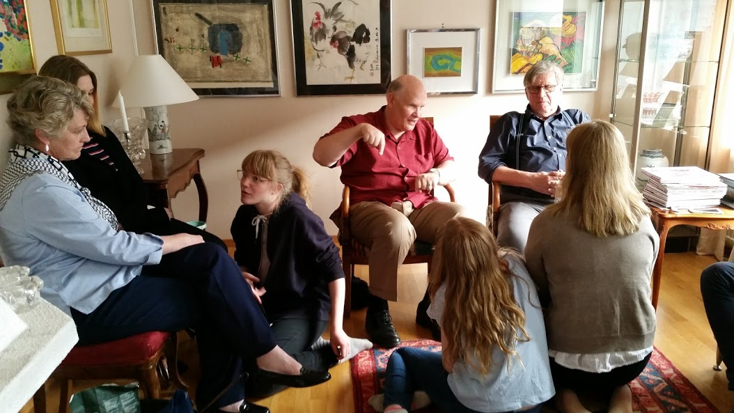 Elder Dale G. Renlund and his wife, Sister Ruth L. Renlund, visit with some of the apostle's cousins while in Sweden.