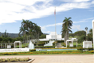 In 1865, the Church purchased 6,000 acres of barren land -- with no known source of fresh water -- on the North Shore of the Hawaiian island of Oahu. Today, the Laie Hawaii Temple, above, the BYU-Hawaii campus and Polynesian Cultural Center stand on that land.