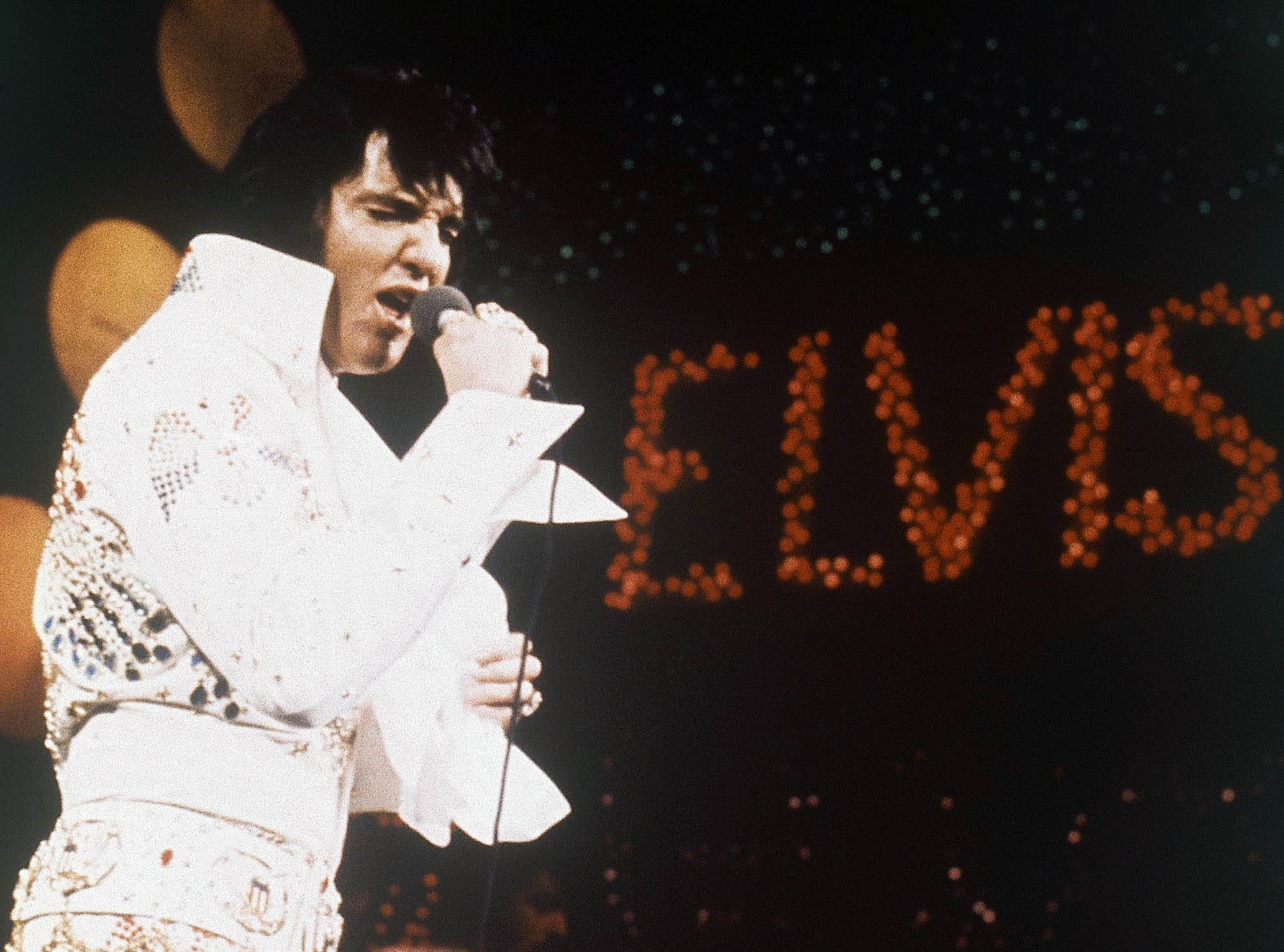 This 1972 file photo shows Elvis Presley, the King of Rock 'n' Roll, during a performance.