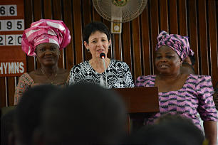 Sister Susan Bednar stands with other women during a meeting for sisters in Lagos, Nigeria.