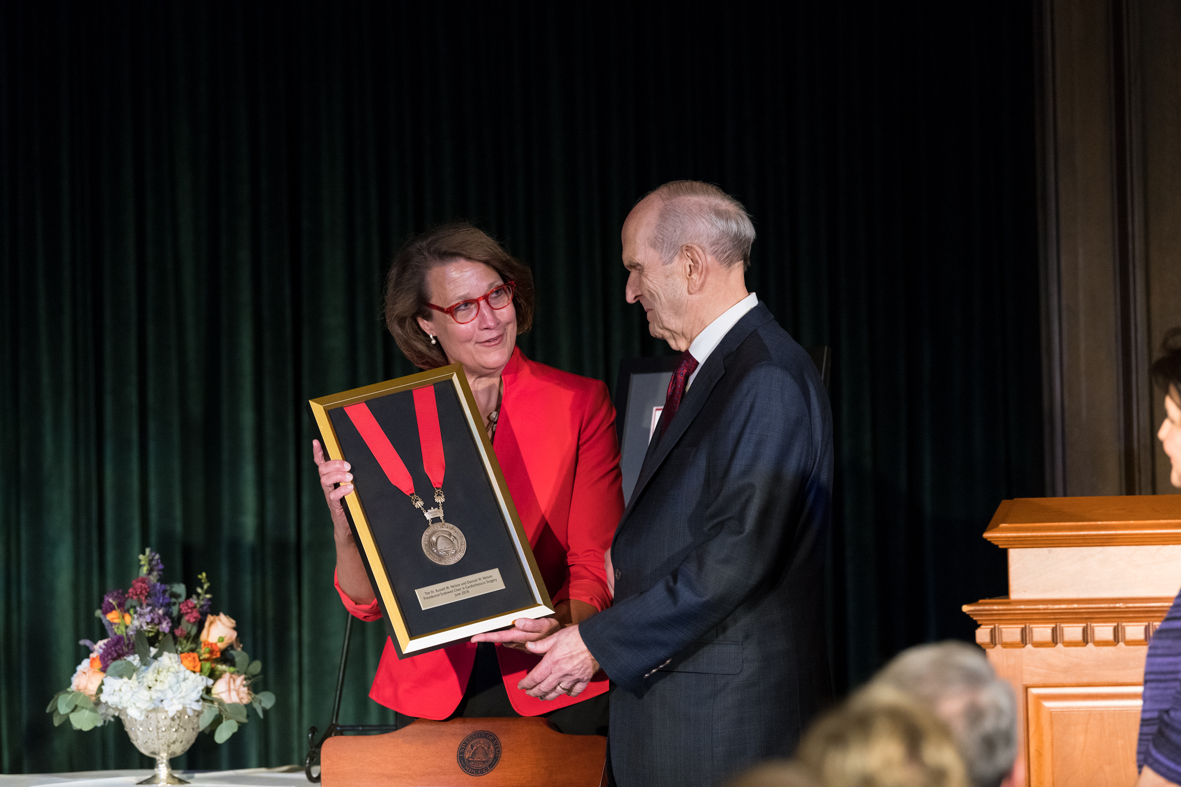 University of Utah president Ruth V. Watkins announced the Dr. Russell M. Nelson and Dantzel W. Nelson Presidential Endowed Chair in Cardiothoracic Surgery at the U.'s School of Medicine during a dinner on Temple Square on Friday, June 15, 2018.