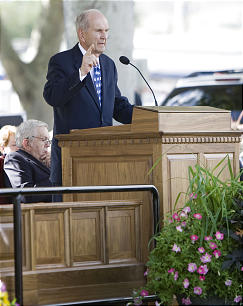 Elder Russell M. Nelson speaks at the ground breaking for the recently announced Brigham City Temple in Brigham City, Utah.