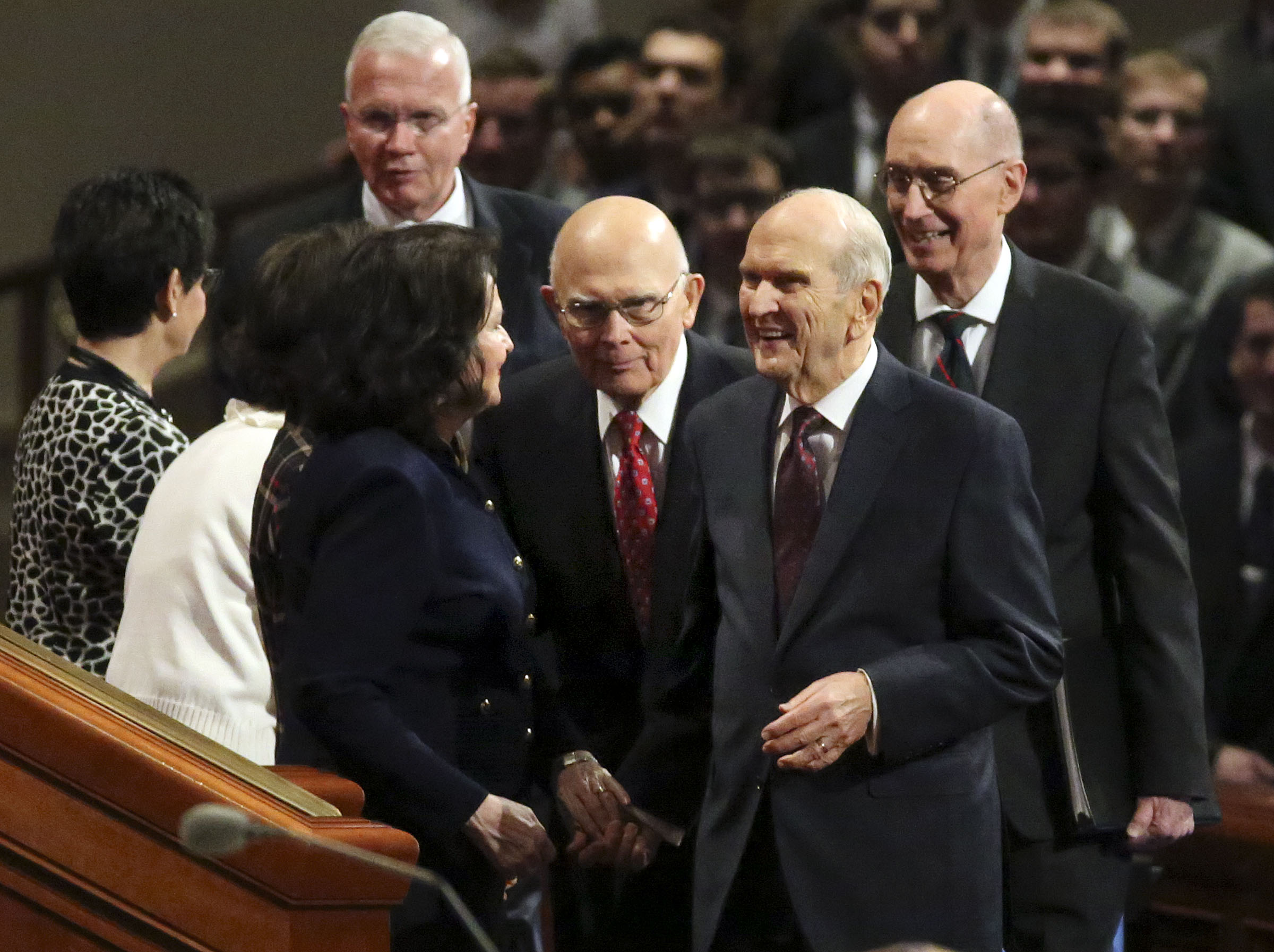 President Russell M. Nelson, President Dallin H. Oaks, first counselor in the First Presidency, and President Henry B. Eyring, second counselor in the First Presidency, enter the Sunday afternoon session of the 188th Semiannual General Conference of The Church of Jesus Christ of Latter-day Saints in the Conference Center in downtown Salt Lake City on Sunday, Oct. 7, 2018.
