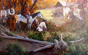 """""""Staging the Attack"""" by Kelly Donovan depicts mobbers creeping up on Hawn's Mill settlement."""