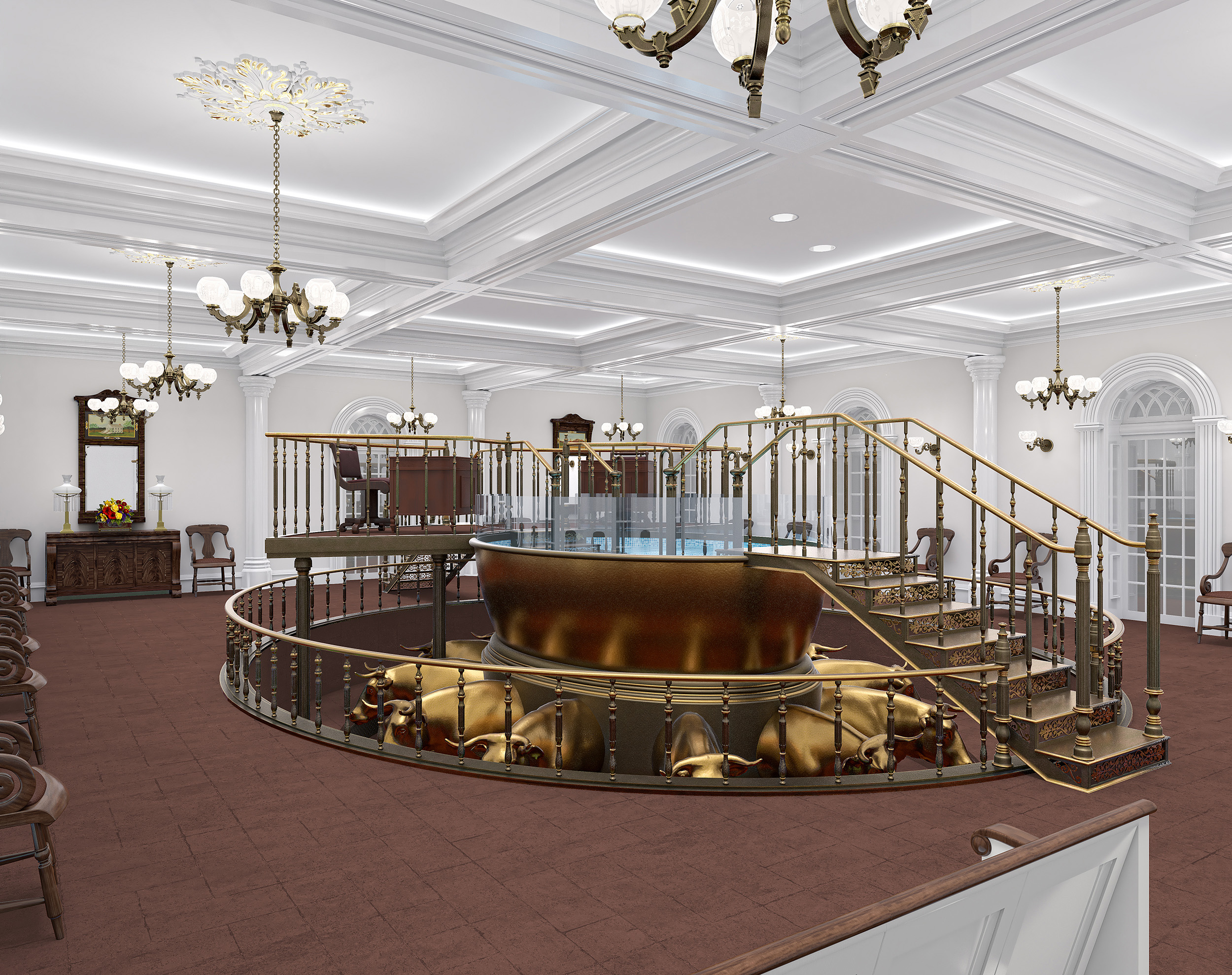 A rendering of the baptistry for the St. George Utah Temple. The temple will close Nov. 4 for extensive renovations.