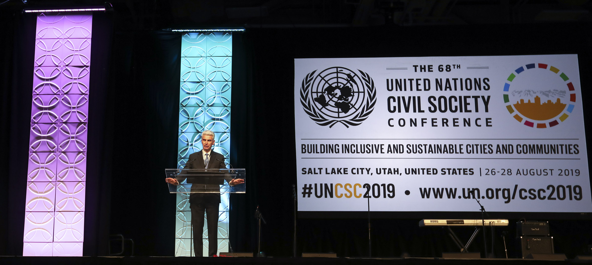Bishop Gérald Caussé, Presiding Bishop of The Church of Jesus Christ of Latter-day Saints, speaks during the closing plenary at the 68th United Nations Civil Society Conference in Salt Lake City on Wednesday, Aug. 28, 2019