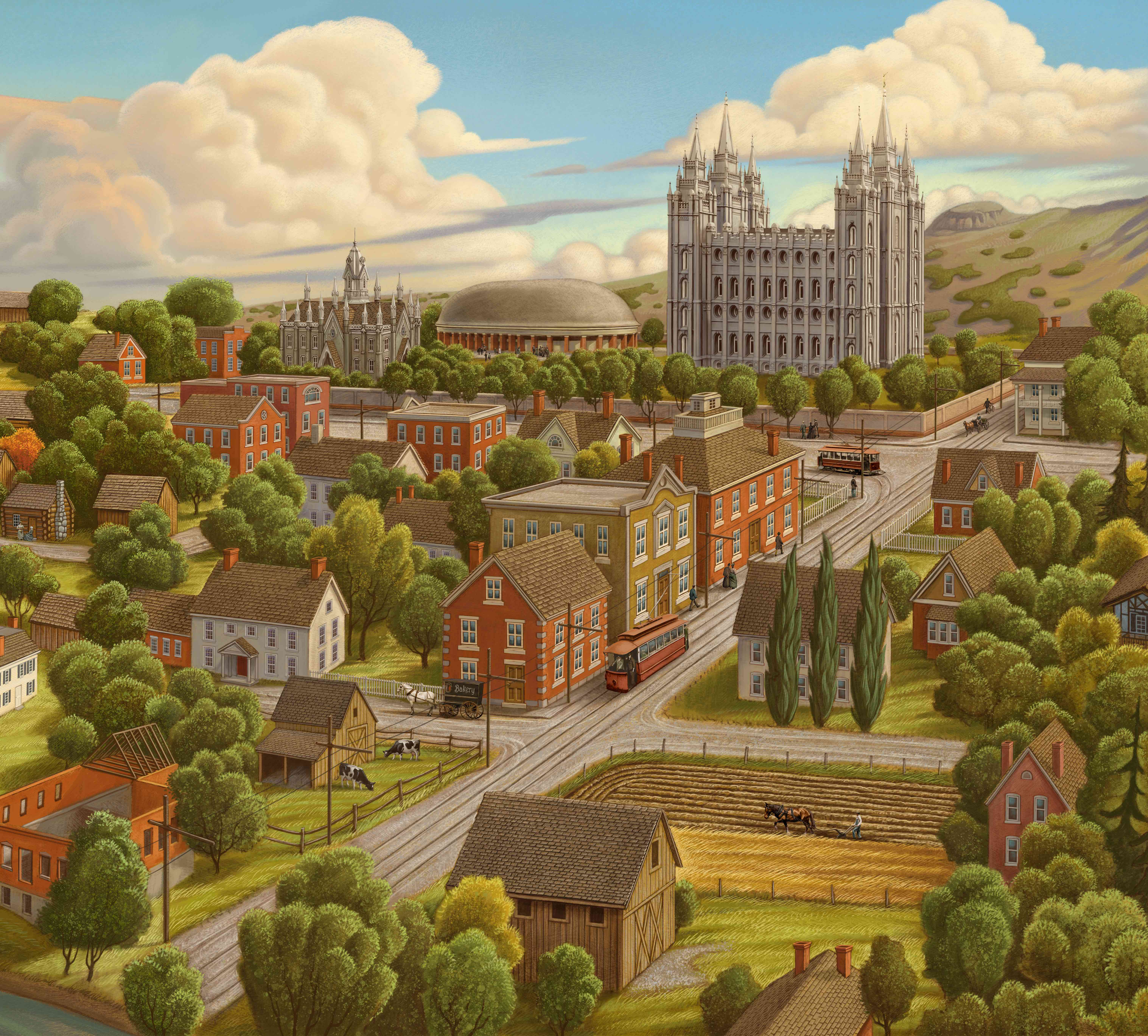 An artist's depiction of the Salt Lake Valley in the early years of pioneer settlement.