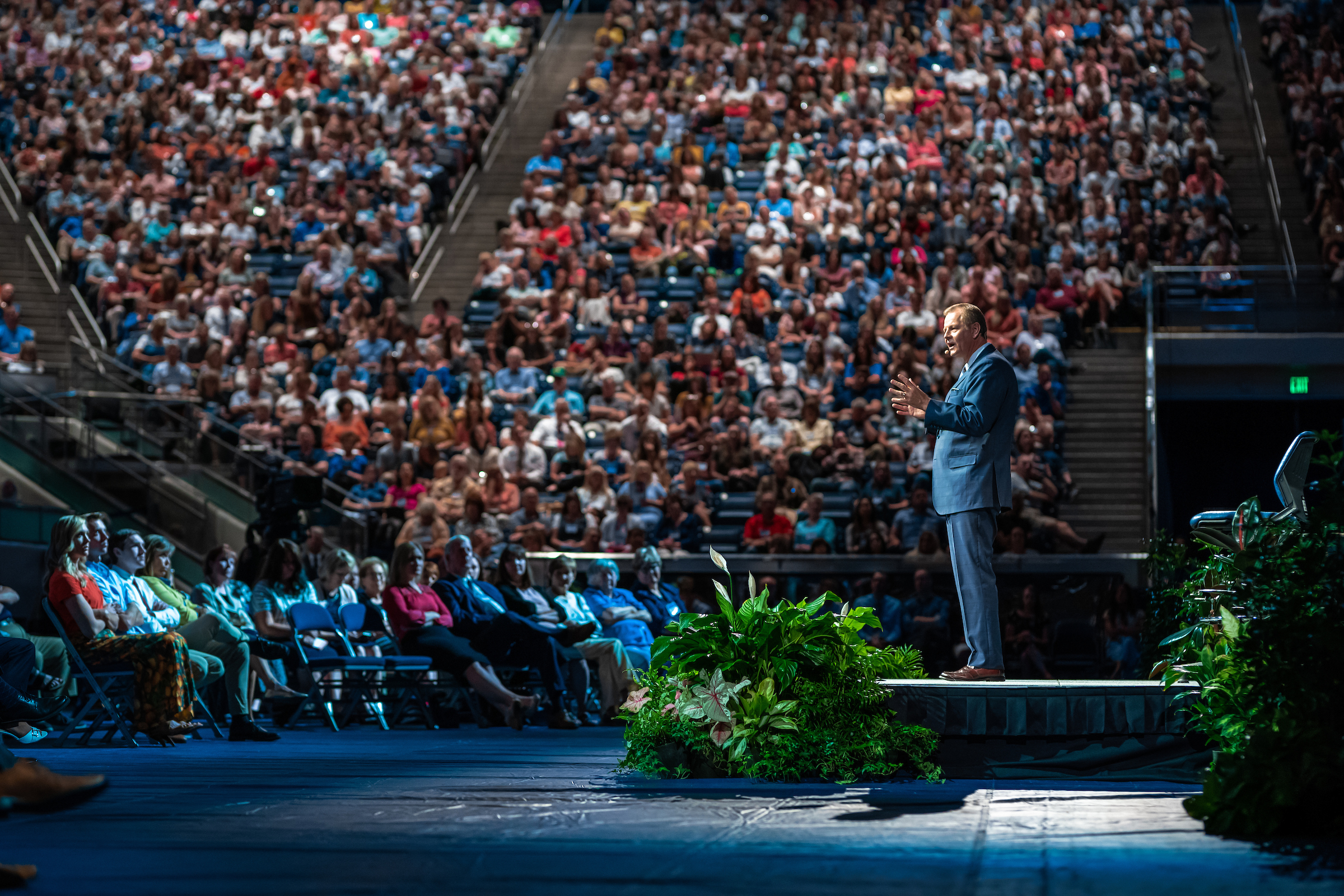 Elder Gary E. Stevenson speaks at a BYU devotional, during Education Week, Tuesday, August 20 2019.