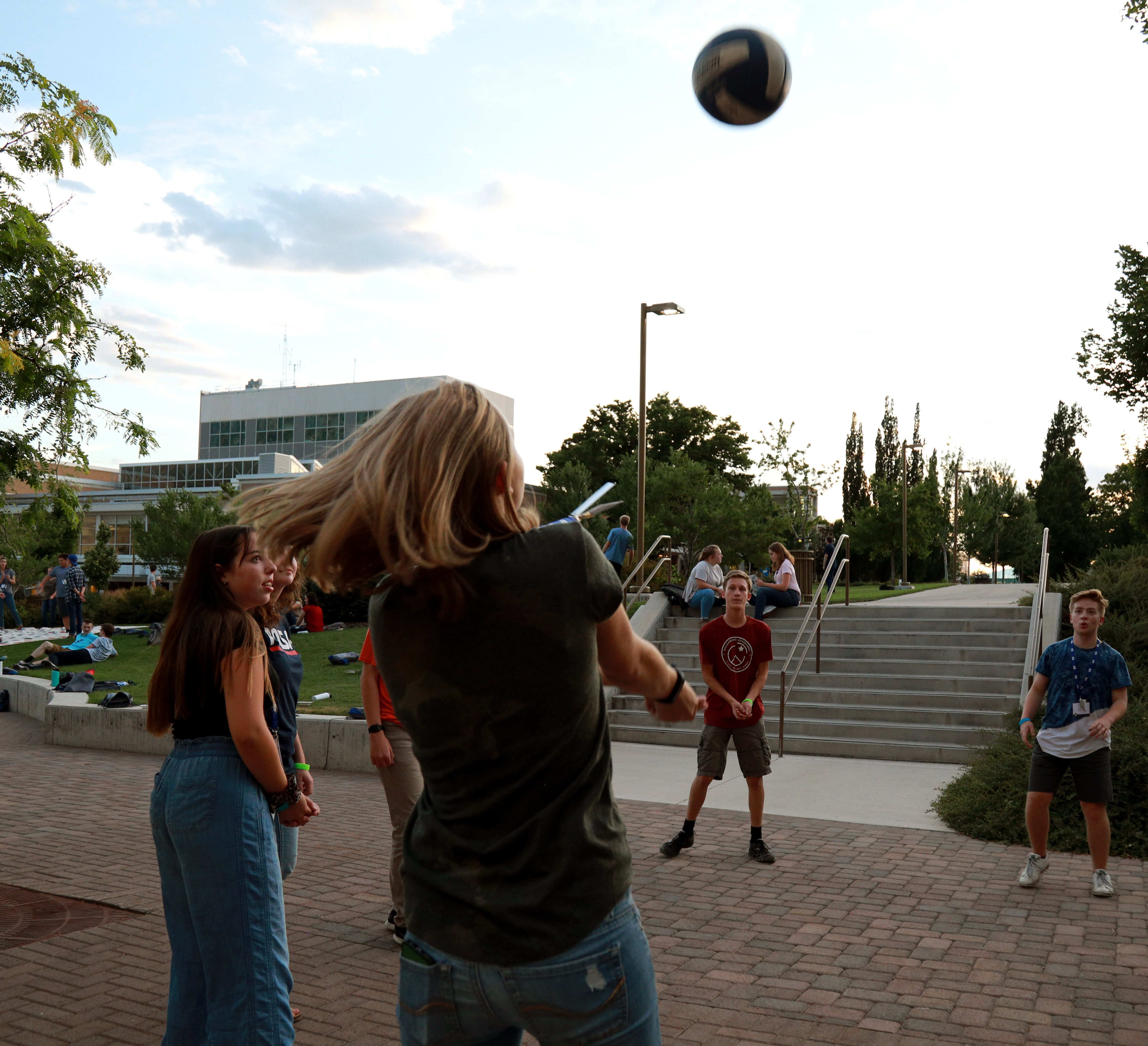 BYU Law Camp is busy with workshops, small group discussions and mock court activities -- but campers still find time to play some volleyball and have fun.
