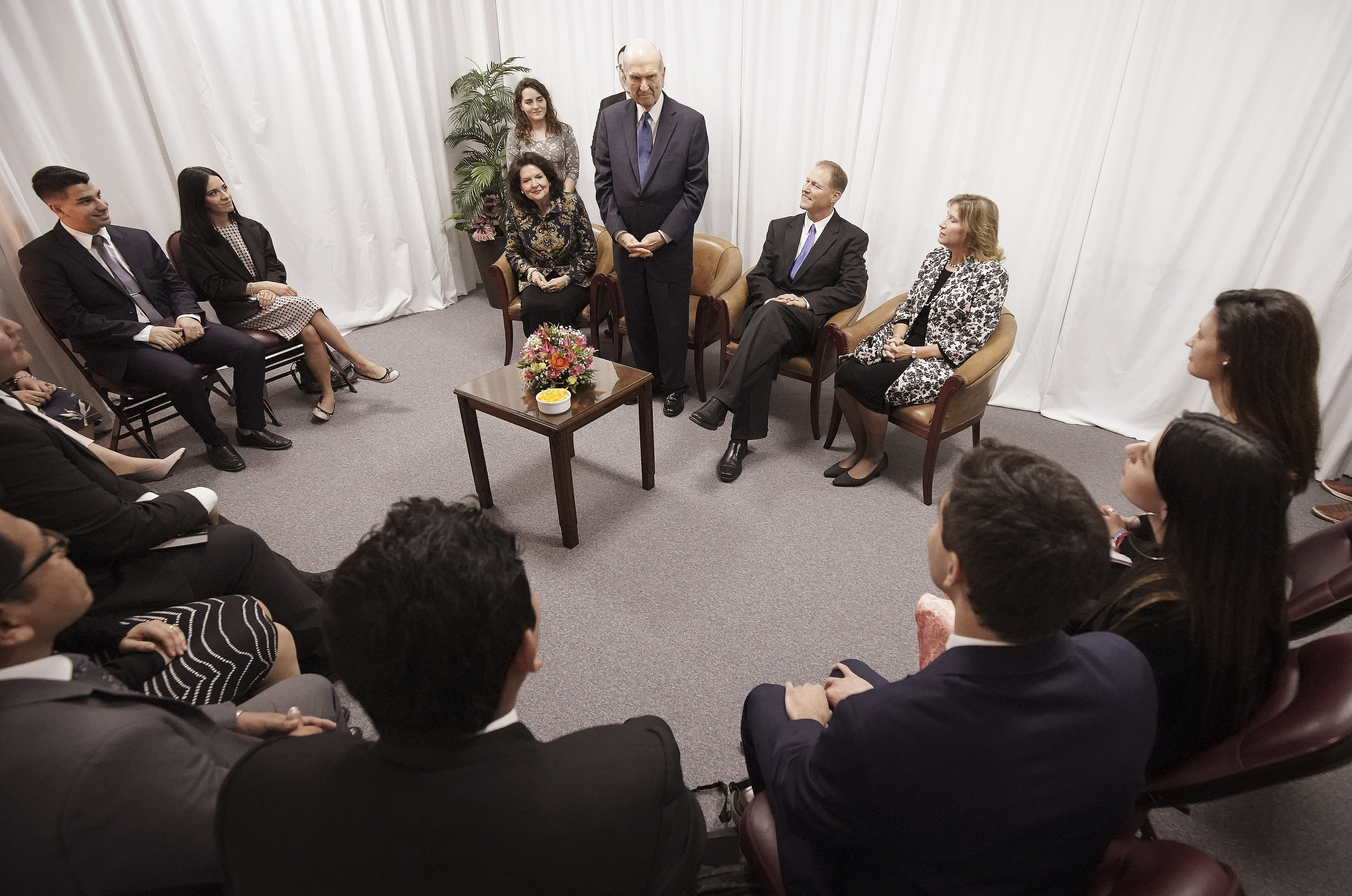 President Russell M. Nelson of The Church of Jesus Christ of Latter-day Saints and his wife, Sister Wendy Nelson, meet with youth prior to a devotional in Buenos Aires, Argentina, on Wednesday, Aug. 28, 2019.