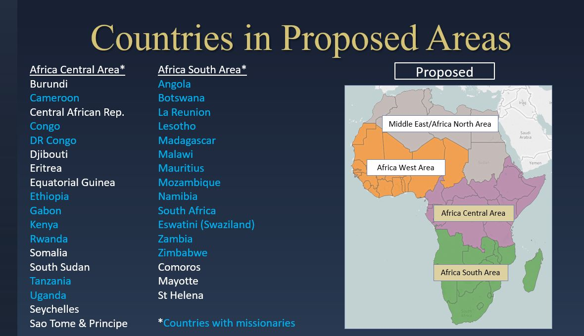 A map of Africa shows the Church's four areas to be functioning by Augusts 2020, with the current Africa Southeast Area to be divided into the Africa South and new Africa Central areas. Intellectual Reserve, Inc.