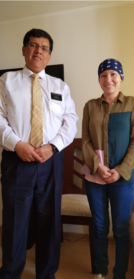 Escarly Albujar enjoys a visit from her former mission president, President Fabian Vallejo of the Bolivia La Paz Mission, while he was in Lima, Peru, for training.