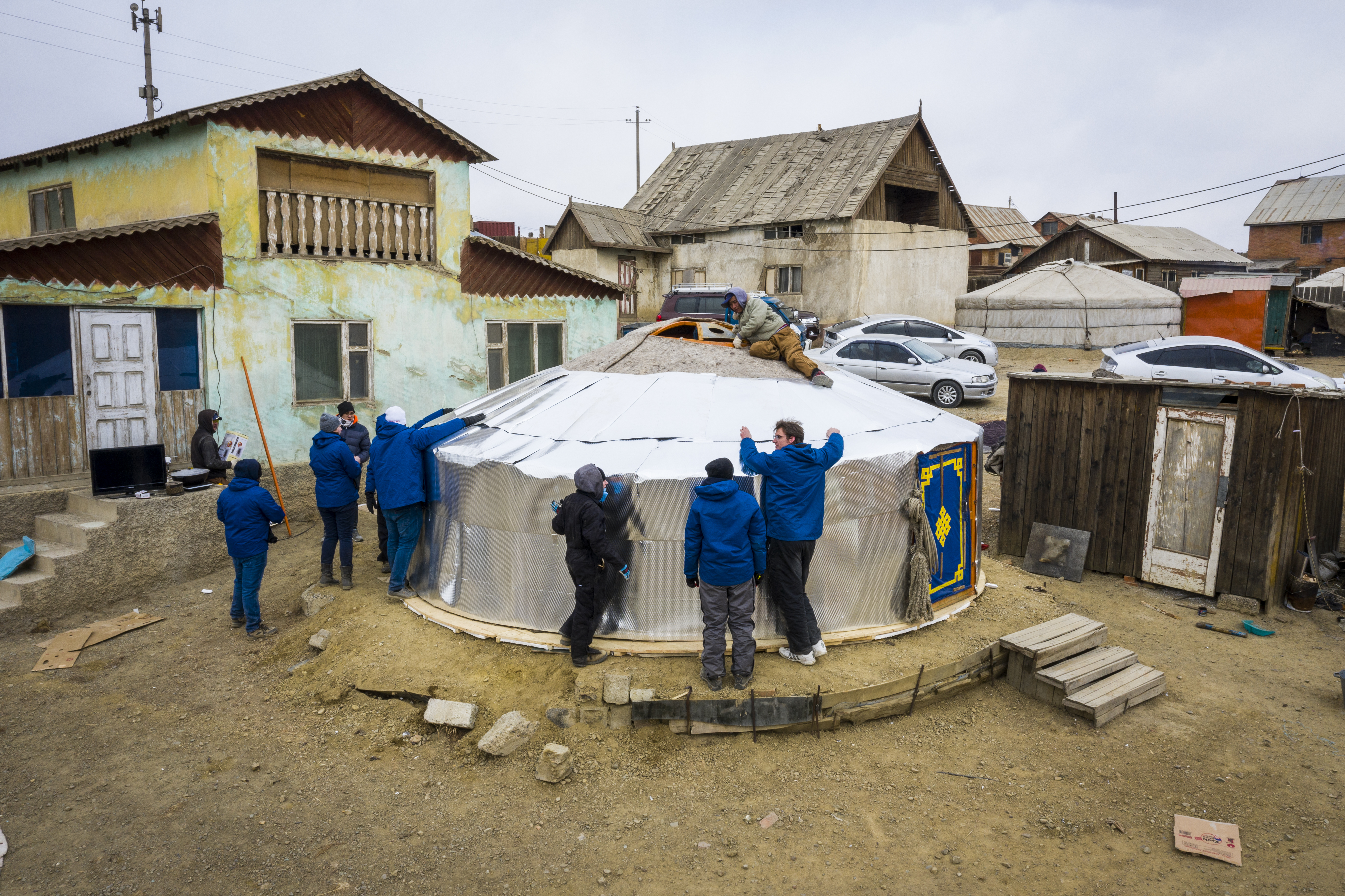 BYU Engineering Capstone teams travel to Ulaanbaatar, Mongolia, to implement project of retrofitting existing gers with insulation and building a new structure to help with heat efficiency to help with pollution problem due to burning coal. Project was in conjunction with The Church of Jesus Christ of Latter-day Saints and Deseret International Charities.