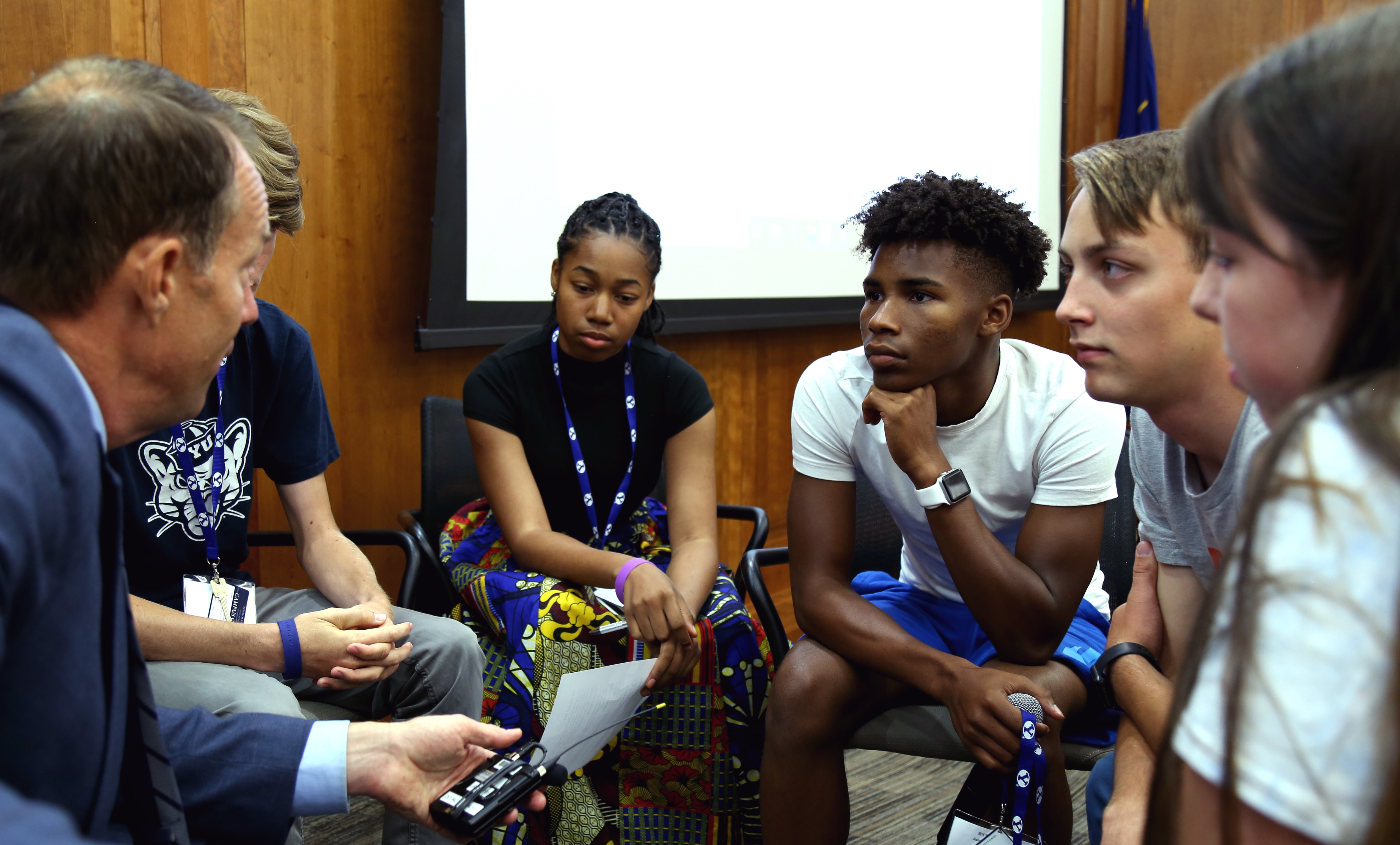 Participants of the 2019 BYU Law Camp take part in a group discussion. The annual camp offers young people opportunities to discuss and better understand the legal issues of the day.