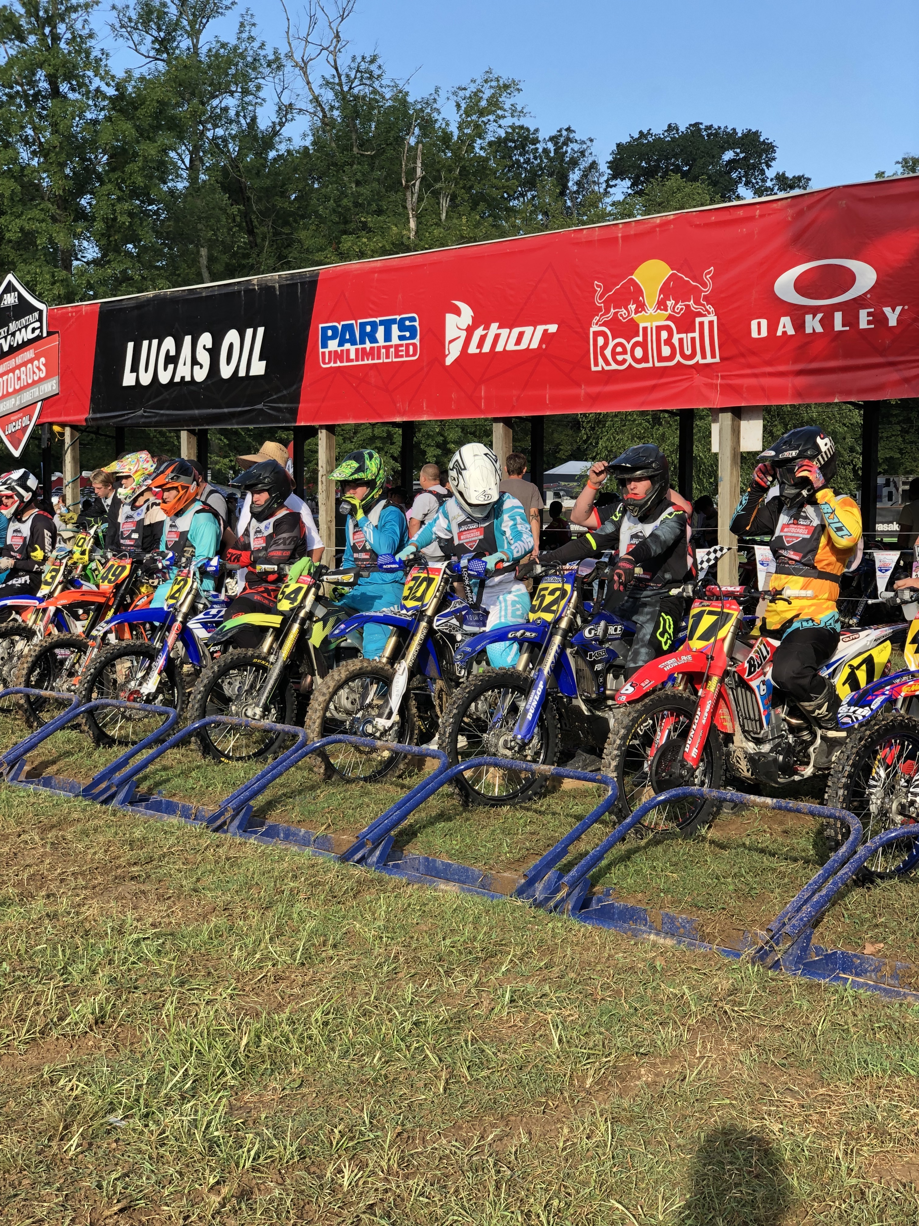 """Rene """"R.J."""" Rodriguez, center, recently honored Hunter Syddall by wearing his No. 30 at the 38th Annual Rocky Mountain ATV/MC AMA Amateur National Motocross Championship at Loretta Lynn Ranch in Tennessee."""
