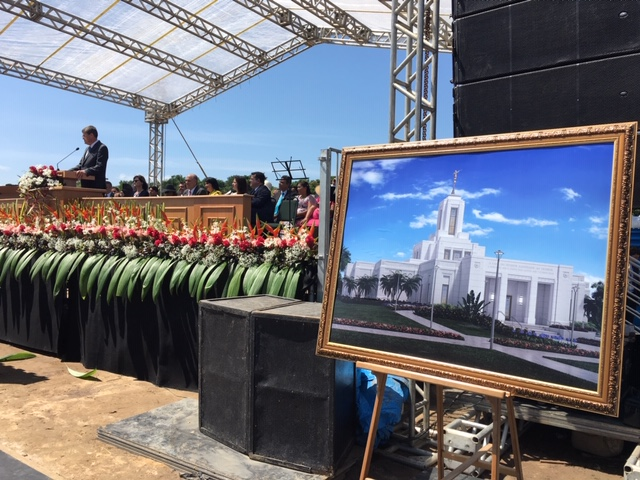Elder Marcos A. Aidukaitis, General Authority Seventy, presides at the Belém Brazil Temple groundbreaking on Saturday, Aug. 17, 2019. The temple rendering is displayed at the right.