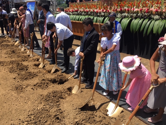 Young members of The Church of Jesus Christ of Latter-day Saints participate in the groundbreaking for the Belém Brazil Temple on Saturday, Aug. 17, 2019.