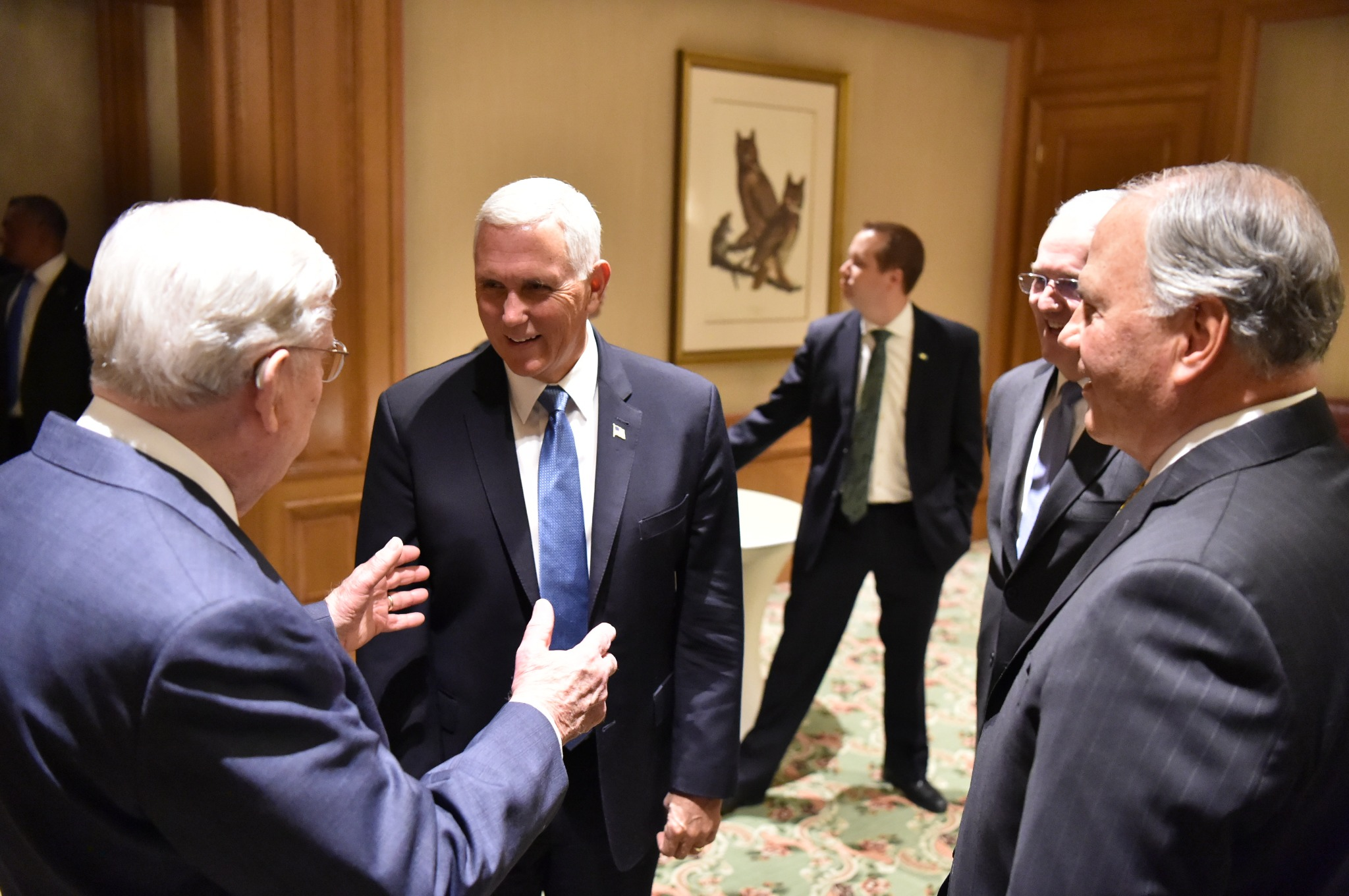 President M. Russell Ballard, acting president of the Quorum of the Twelve Apostles, left, speaks with U.S. Vice President Mike Pence during a brief meeting Thursday, Aug. 22, 2019, at Grand America Hotel in Salt Lake City. At right are Elder Jack N. Gerard, a General Authority Seventy, and Elder Ronald A. Rasband, member of the Quorum of the Twelve Apostles.
