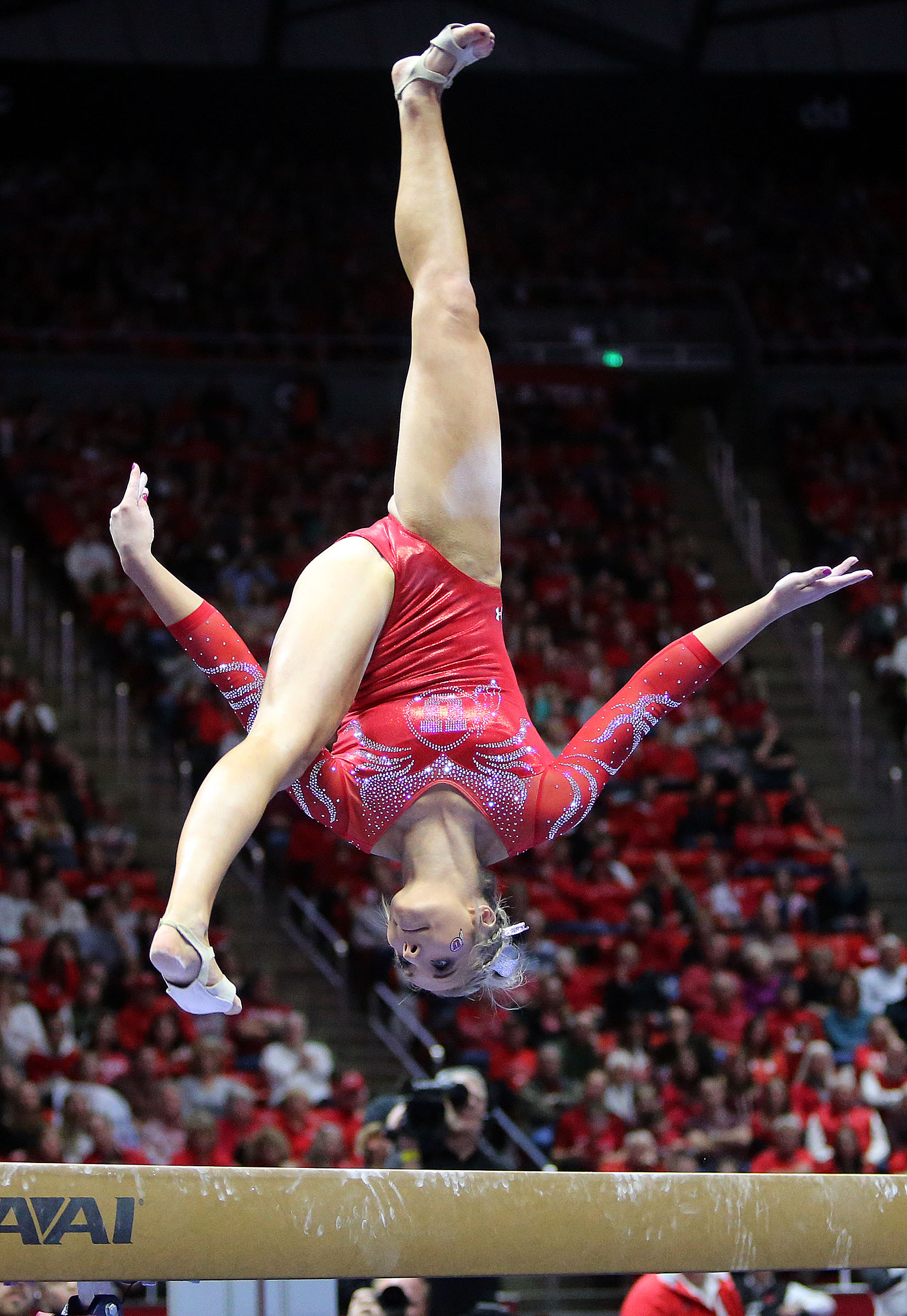 University of Utah's MyKayla Skinner scores a 9.900 on the balance beam during a gymnastics meet against BYU at the Huntsman Center in Salt Lake City on Friday, Jan. 5, 2018.