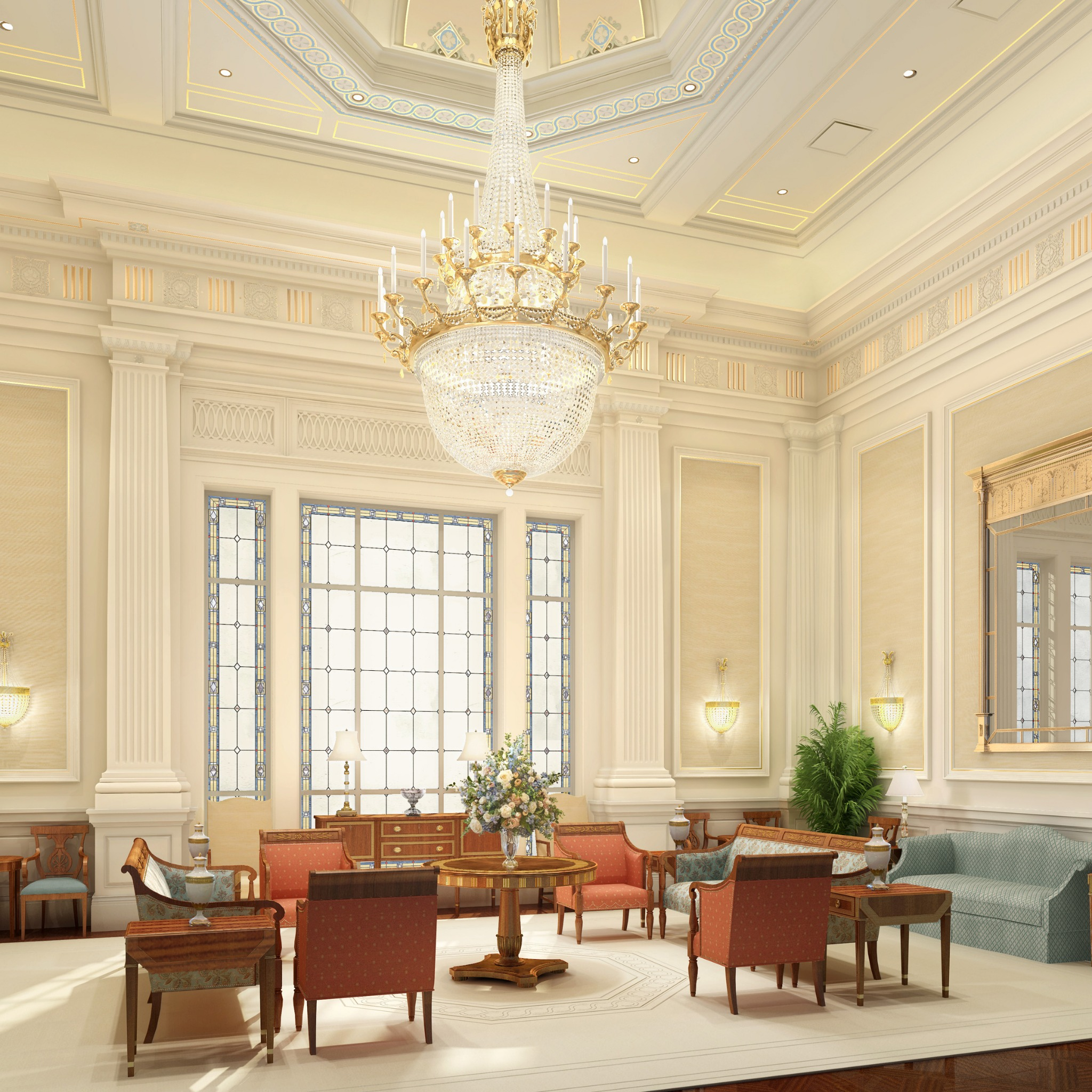 Rendering of the celestial room in the Richmond Virginia Temple