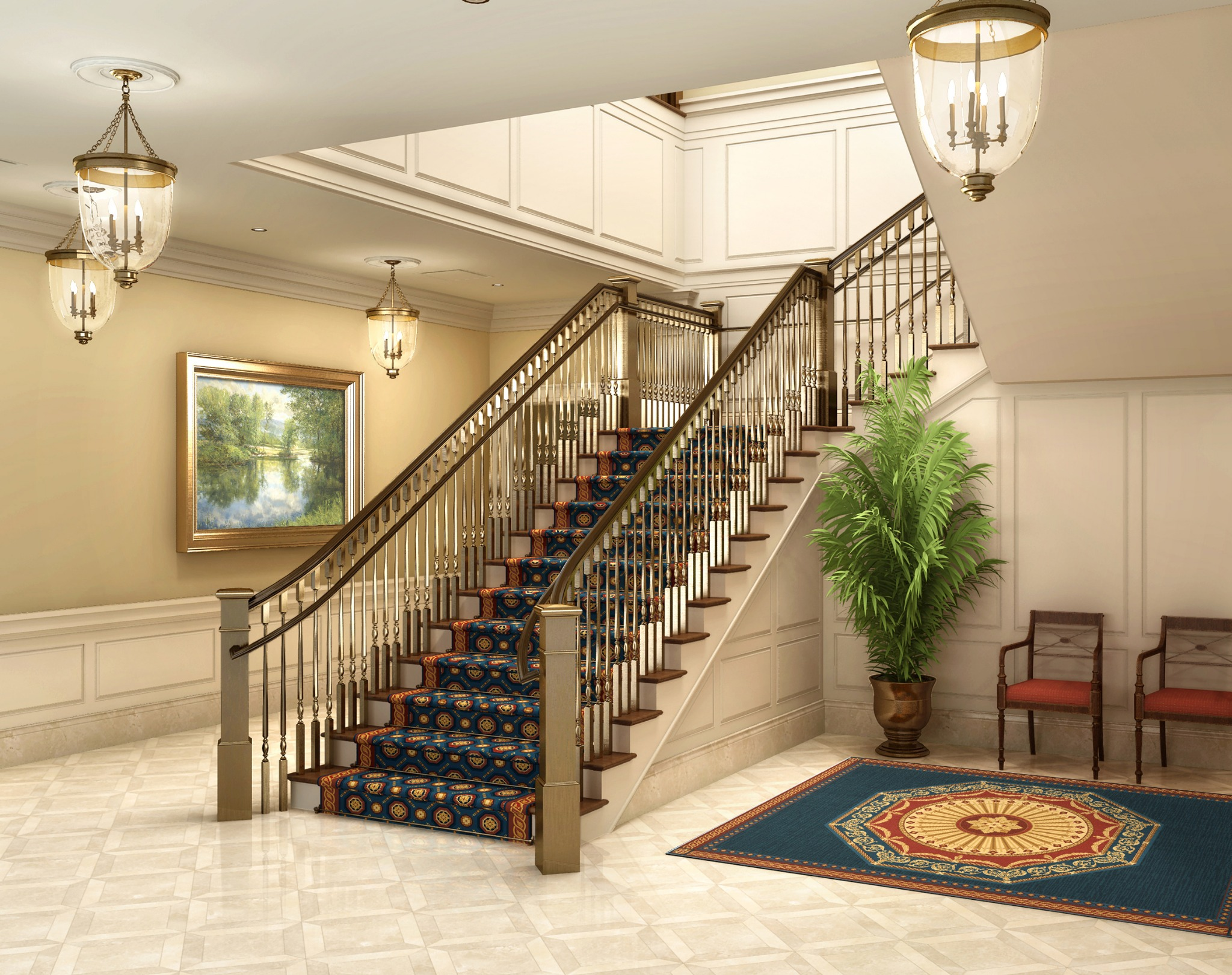 Rendering of the grand staircase in the Richmond Virginia Temple