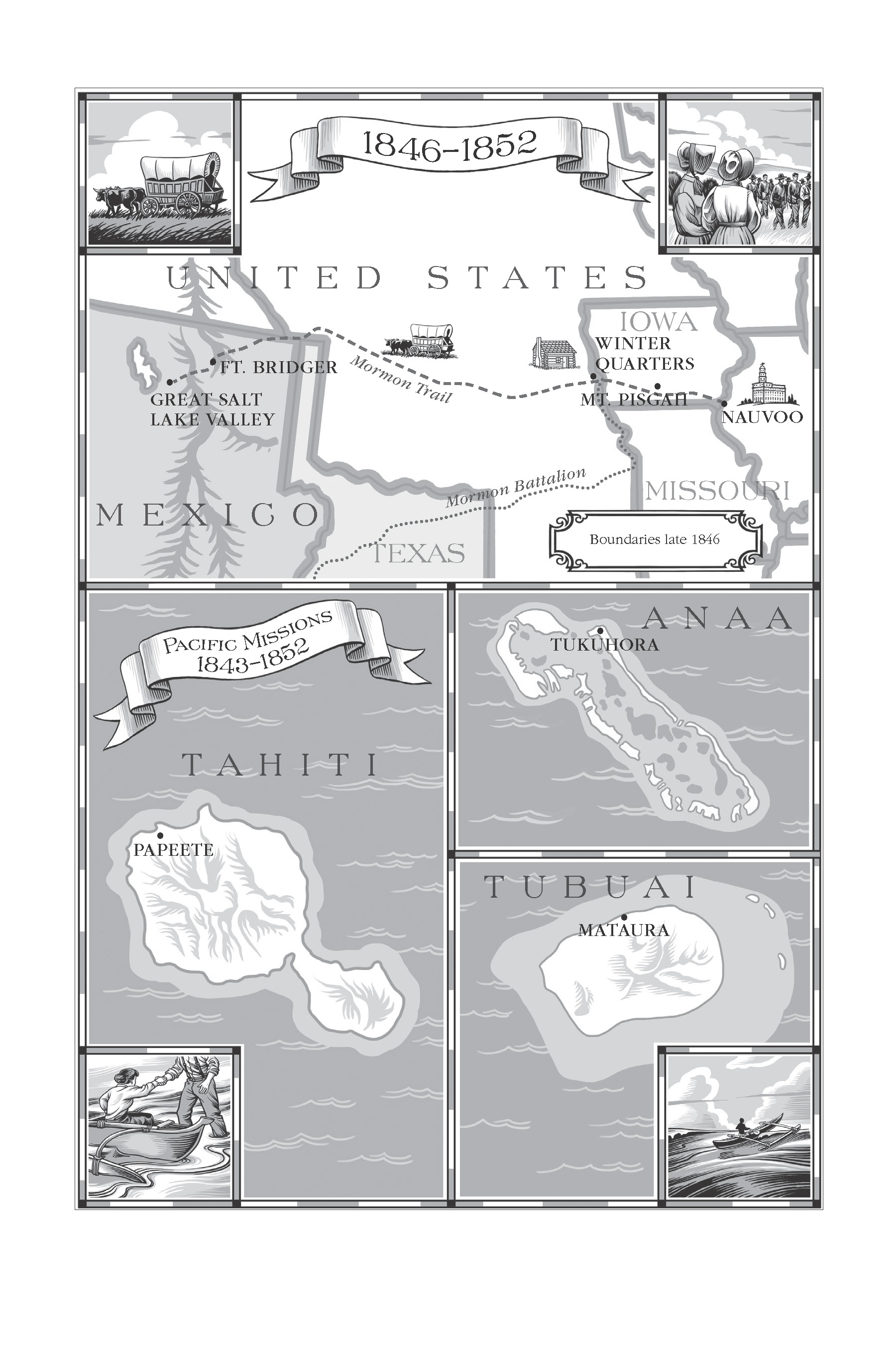 Maps of the South Pacific islands that early missionaries went to.