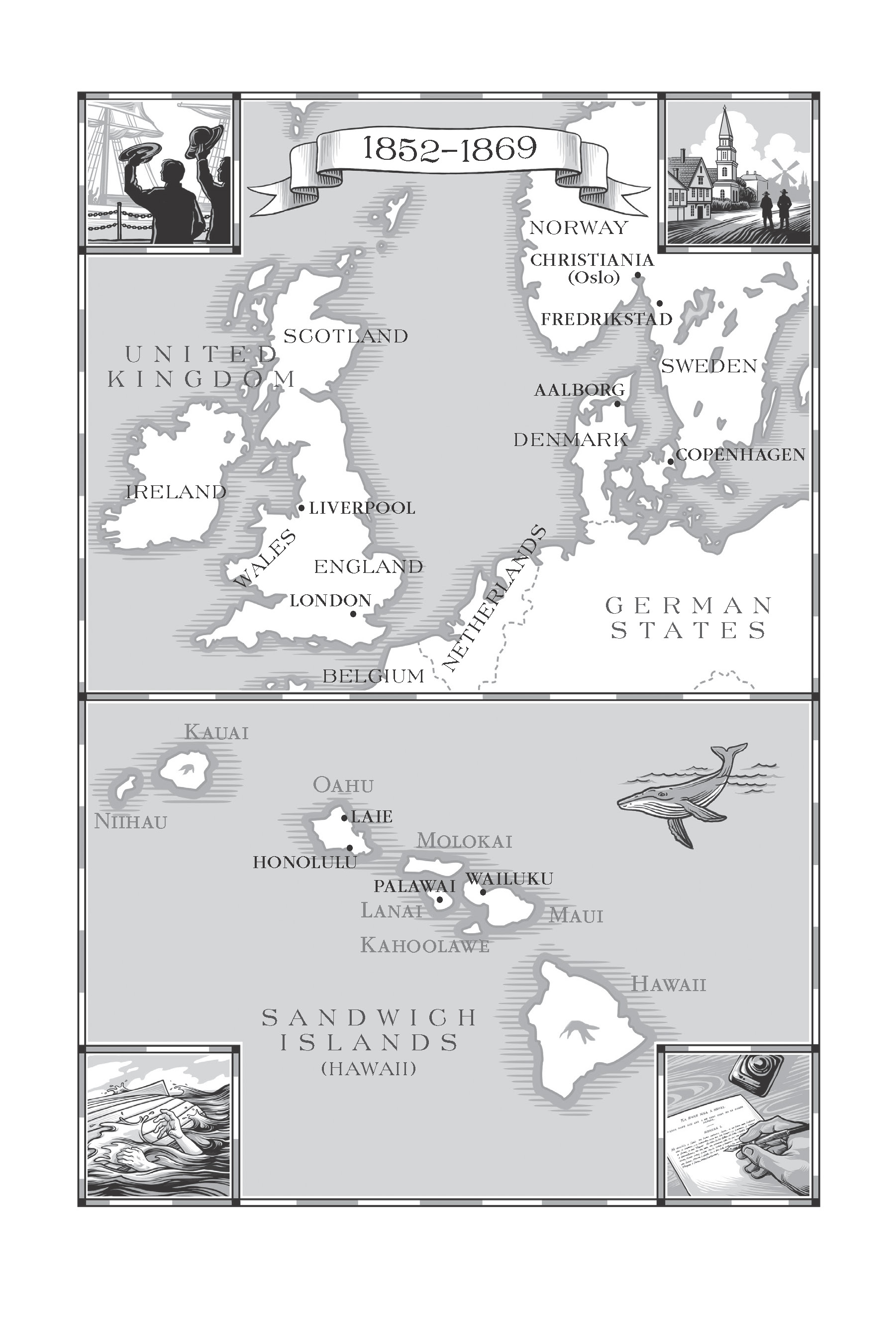 Maps of the overseas locations where early missionaries of the Church were sent.