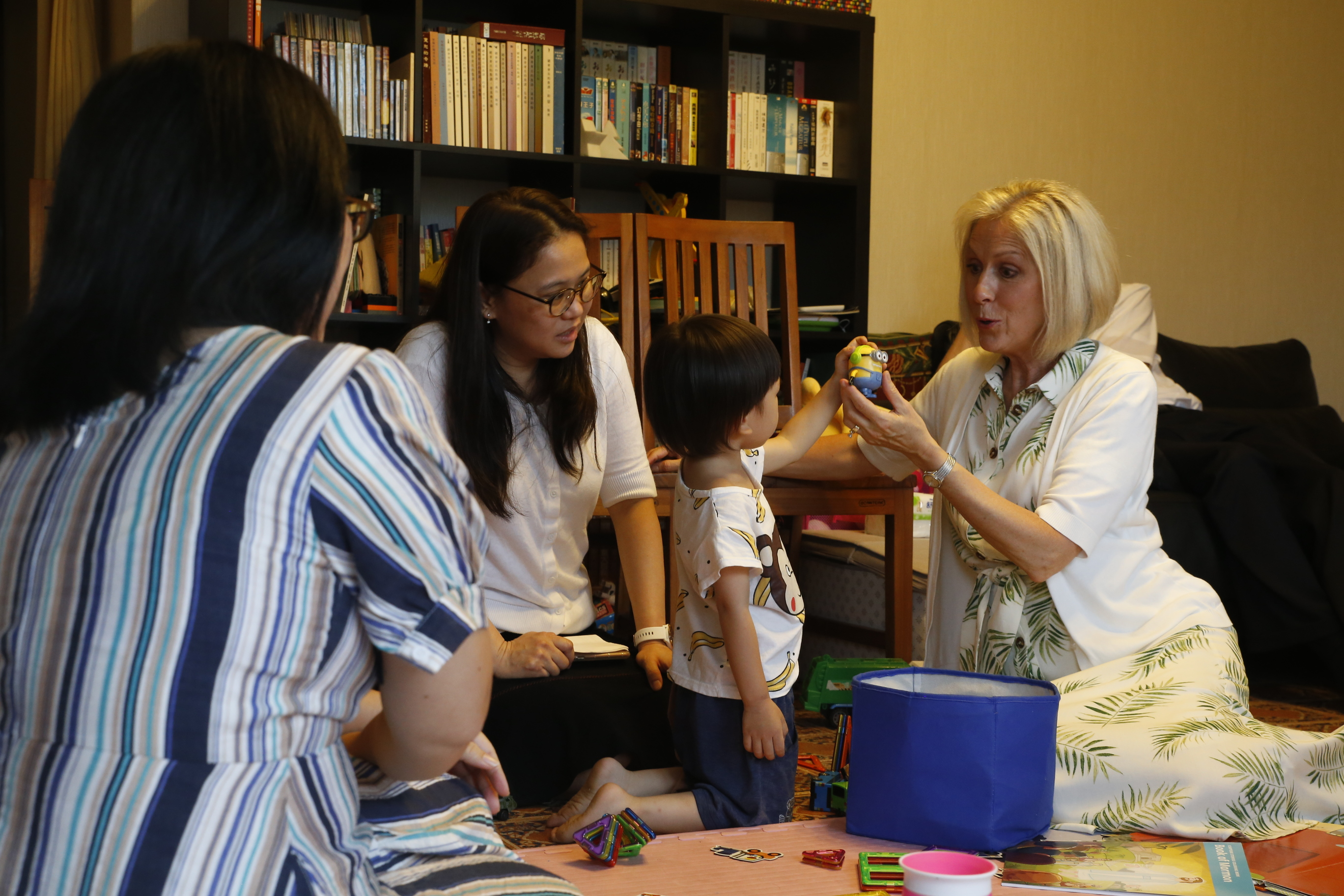 Sister Joy D. Jones, Primary general president, visits the home of members in Taipei, Taiwan, during a tour to the Asia Area from Aug. 17 to 14, 2019.