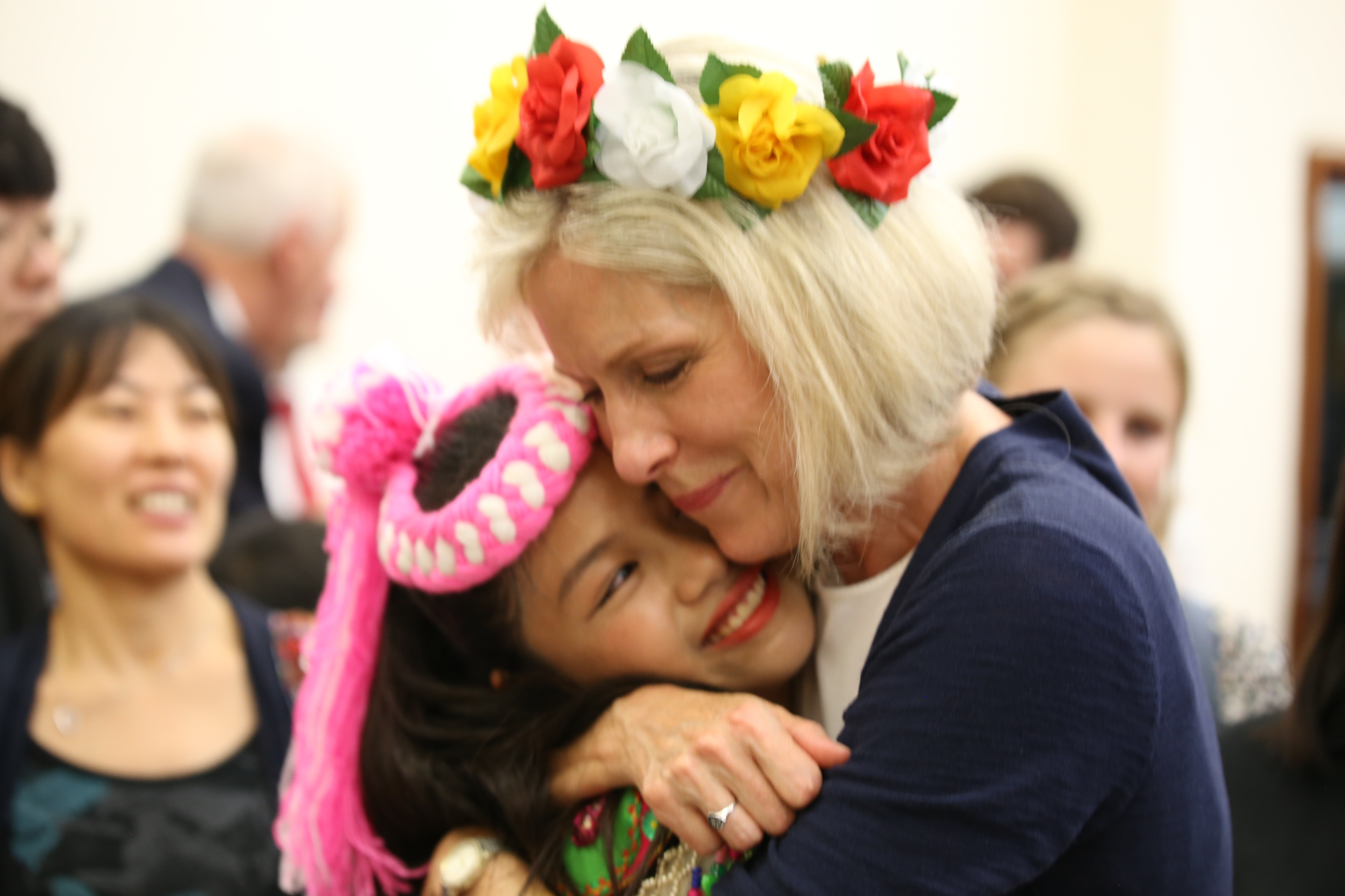 Sister Joy D. Jones, Primary general president, hugs a youth member following a devotional in Taitung, Taiwan, where she danced with members during a visit to the Asia Area from Aug. 17 to 24, 2019.